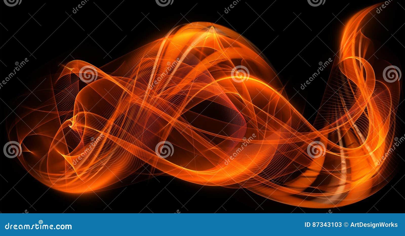 Fondo moderno de la llama del extracto dinámico anaranjado de los colores