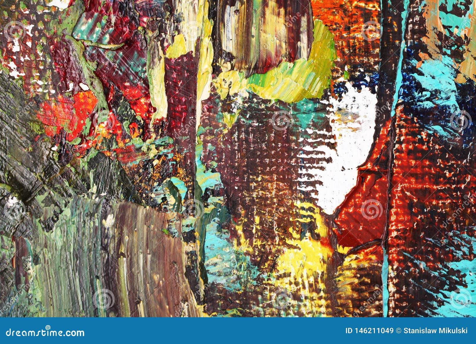 Fondo multicolor del extracto del primer de las pinturas de aceite de los artistas