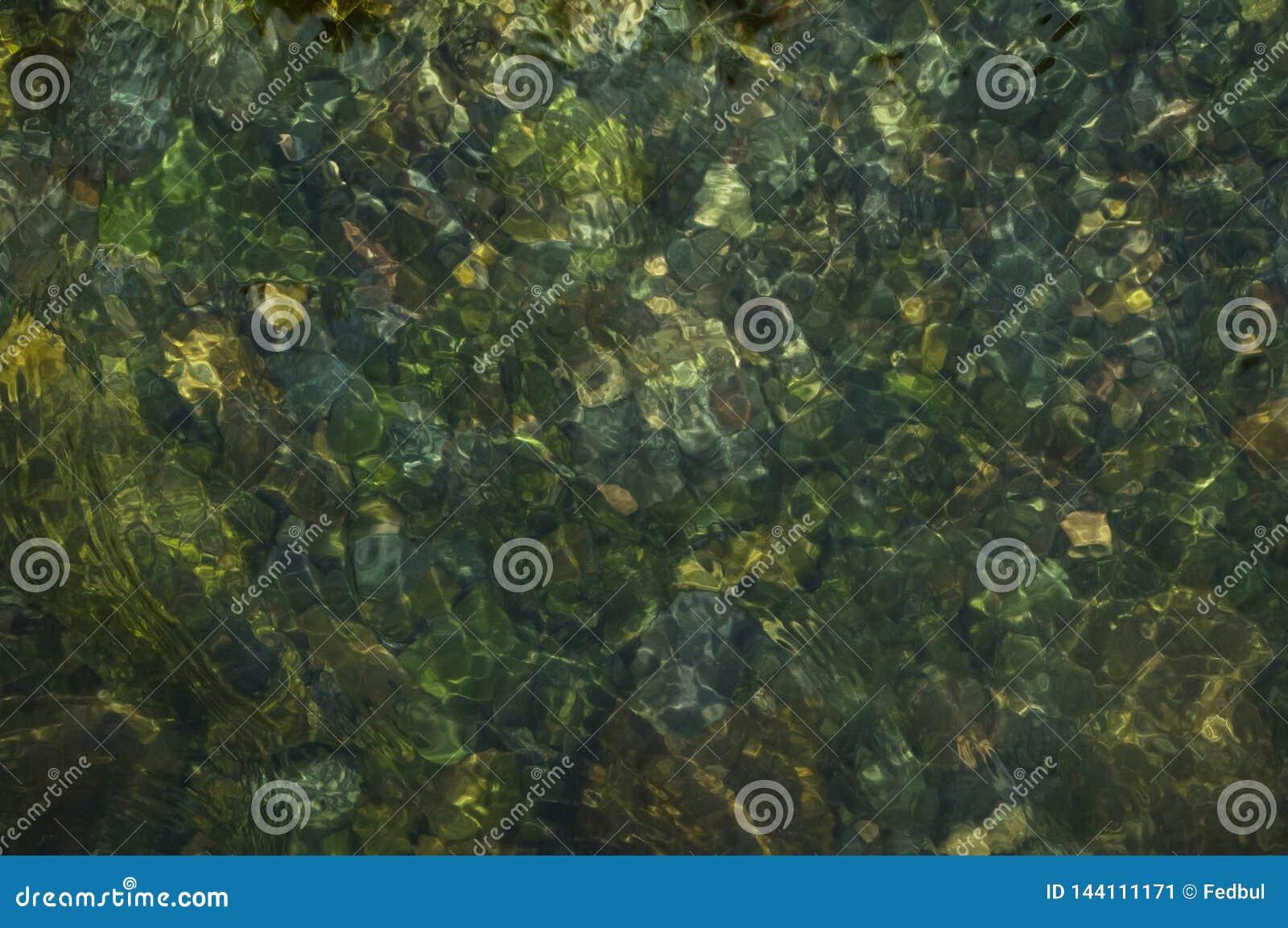 Fondo natural de la textura del agua del río de la montaña