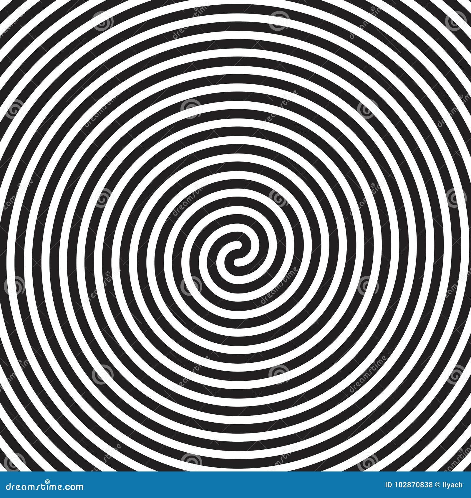 Fondo negro blanco del modelo de la ilusión óptica del remolino del espiral del vector del extracto hipnótico de los círculos
