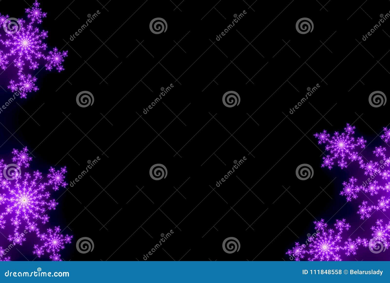 Fondo Negro Con Los Copos De Nieve Las Flores O Las