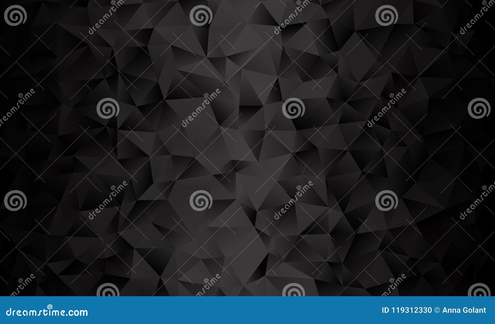Fondo negro del polígono Imitación del vector del ejemplo 3D Modelo con los triángulos de diversa escala