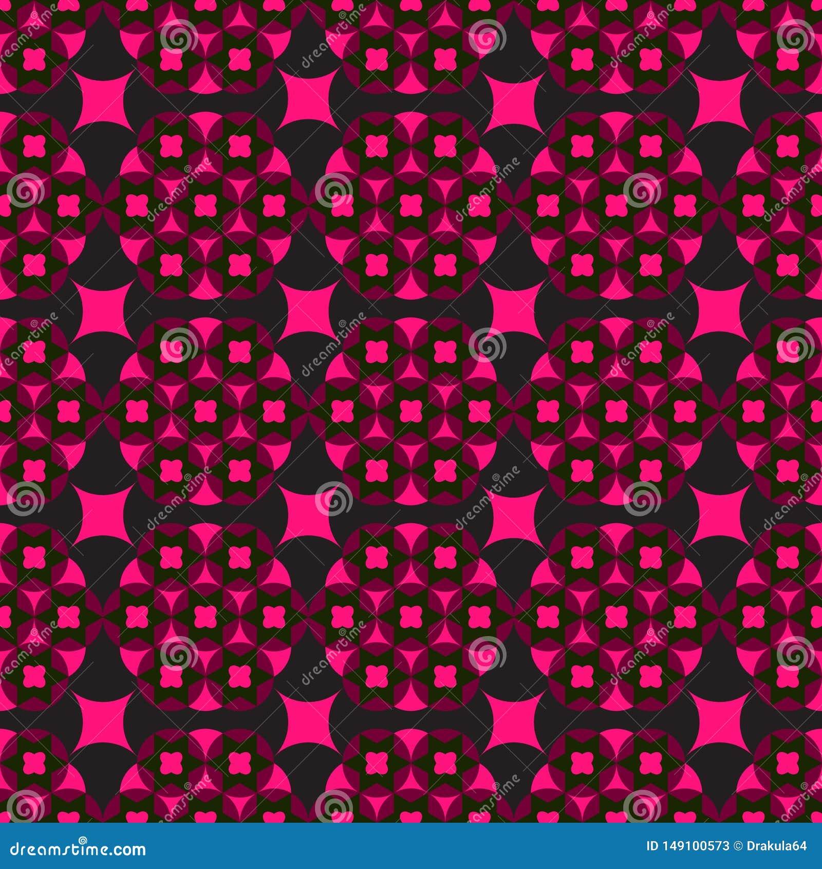 Fondo negro inconsútil con formas geométricas rojas