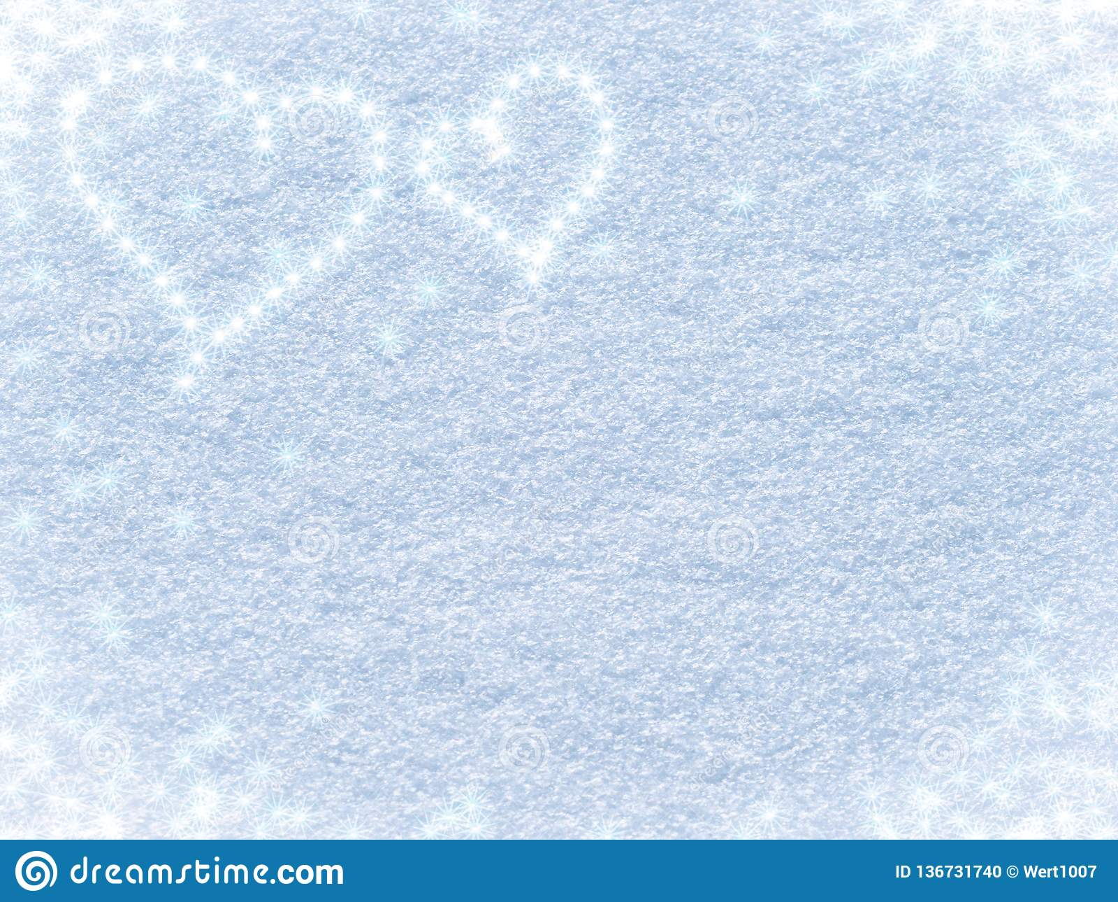Fondo Nevado con los corazones para el día de tarjeta del día de San Valentín