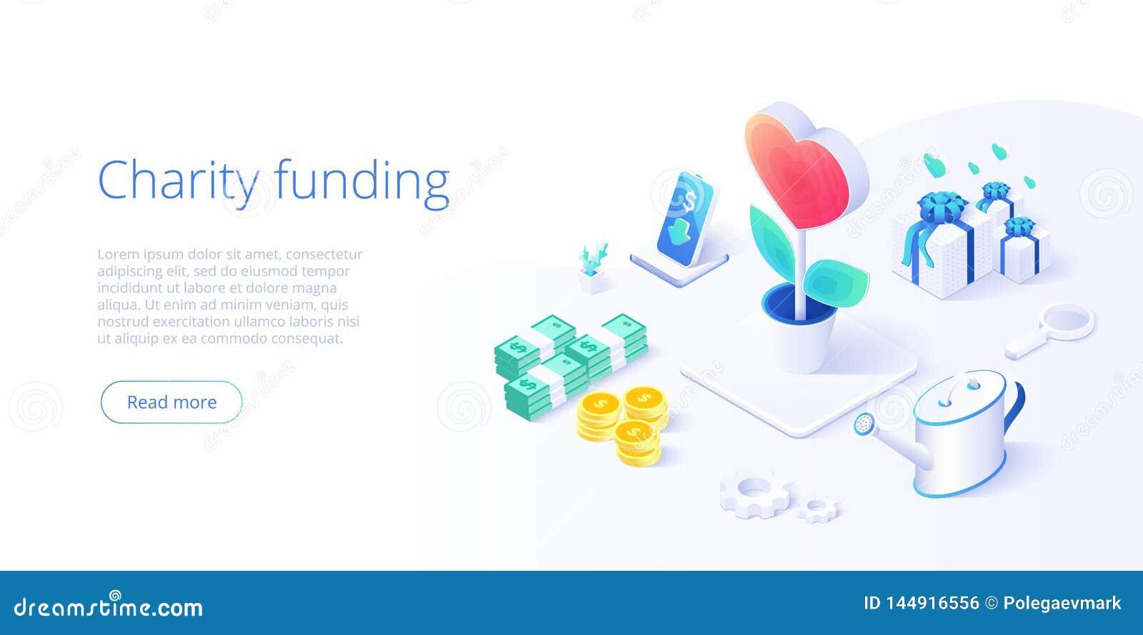 Fondo o cura di carità nel concetto isometrico di vettore Illustrazione volontaria della metafora di donazione o della comunità