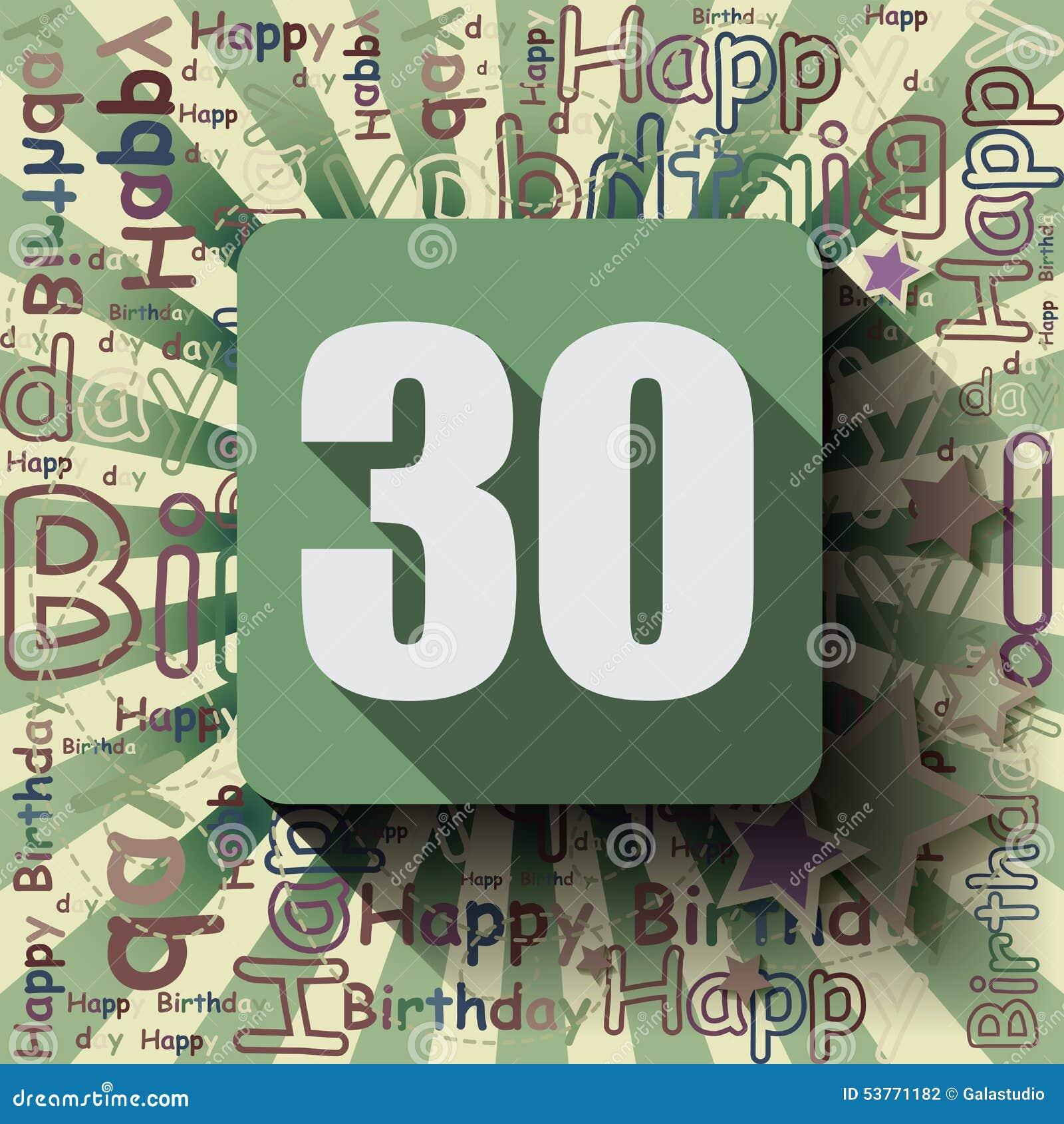 Fondo O Tarjeta Del Feliz Cumpleaños 30 Stock de ilustración ...