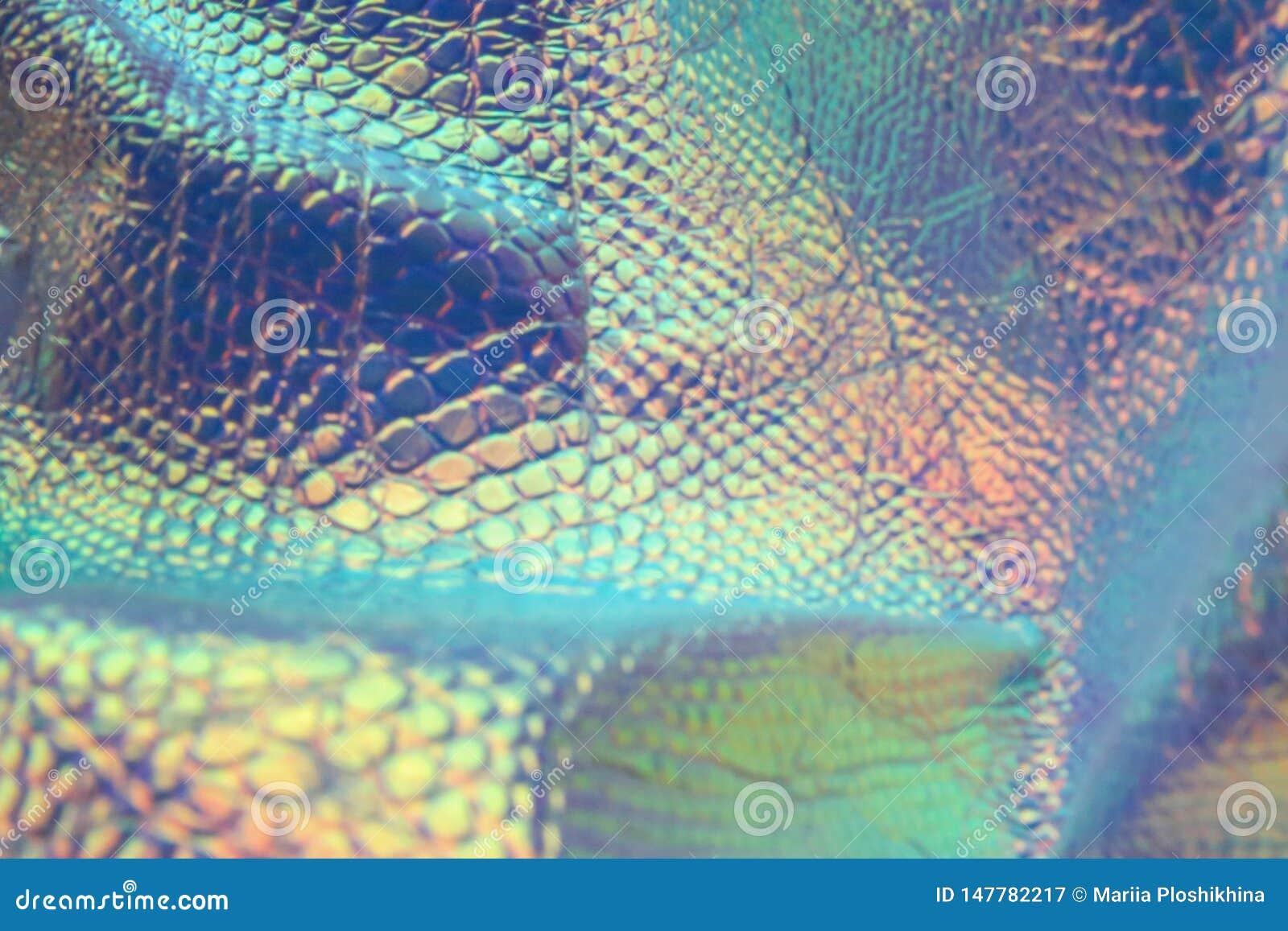 Fondo olografico d avanguardia del serpente dell estratto con i colori al neon