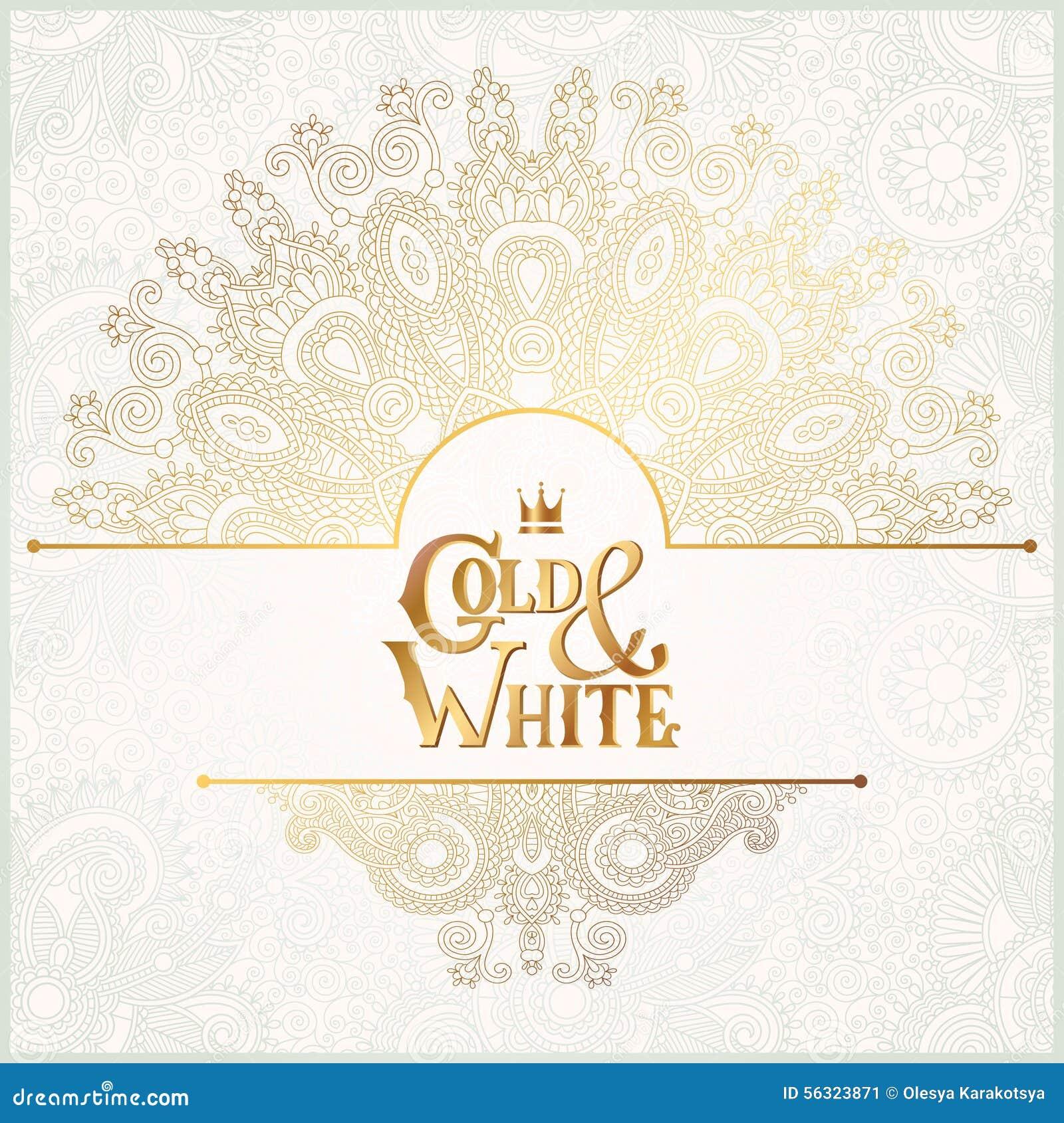 a2cbe4e0092e1 El fondo ornamental floral elegante con oro de la inscripción y la decoración  blanca
