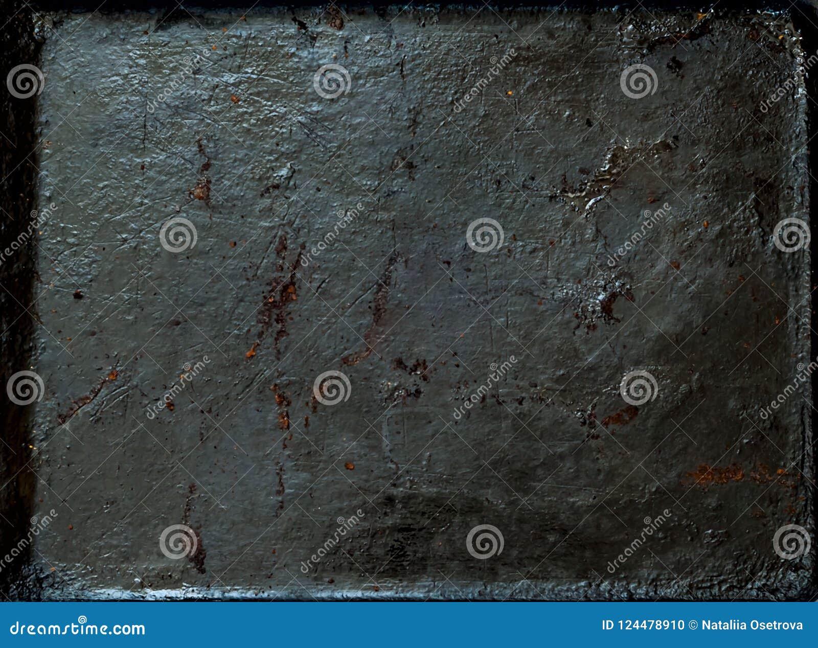 Fondo oxidado del metal del vintage, concepto de la comida, espacio de la copia, primer,