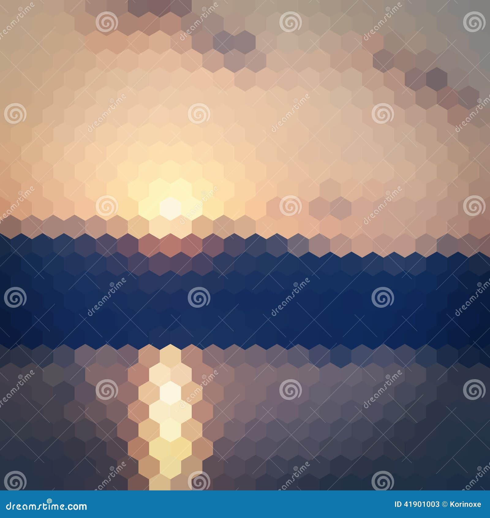 Fondo pálido del hexágono de la puesta del sol