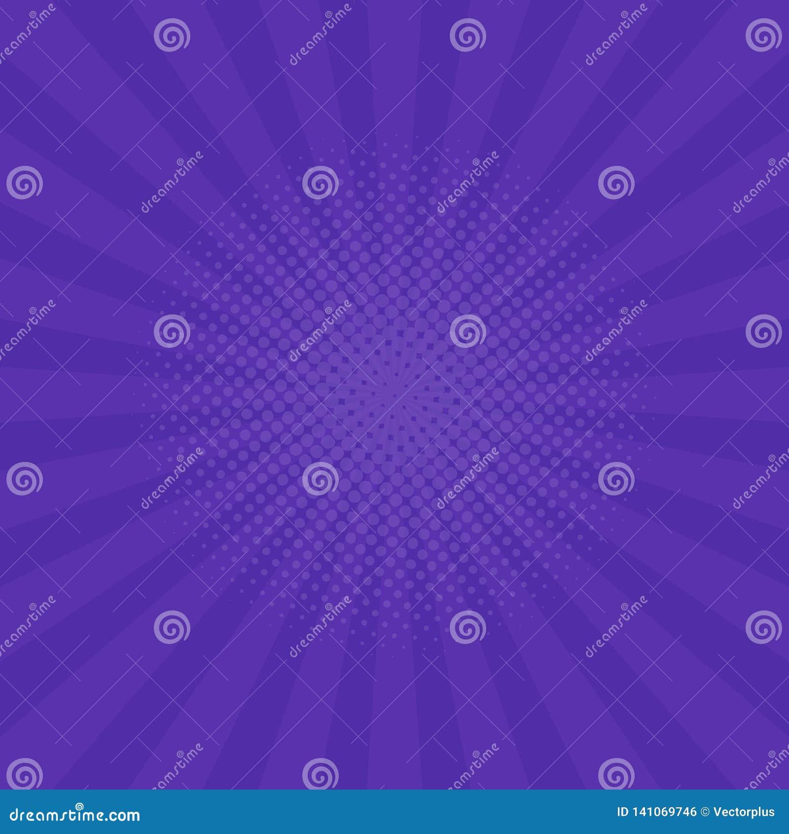 Fondo púrpura brillante de los rayos Tebeos, estilo del arte pop Vector