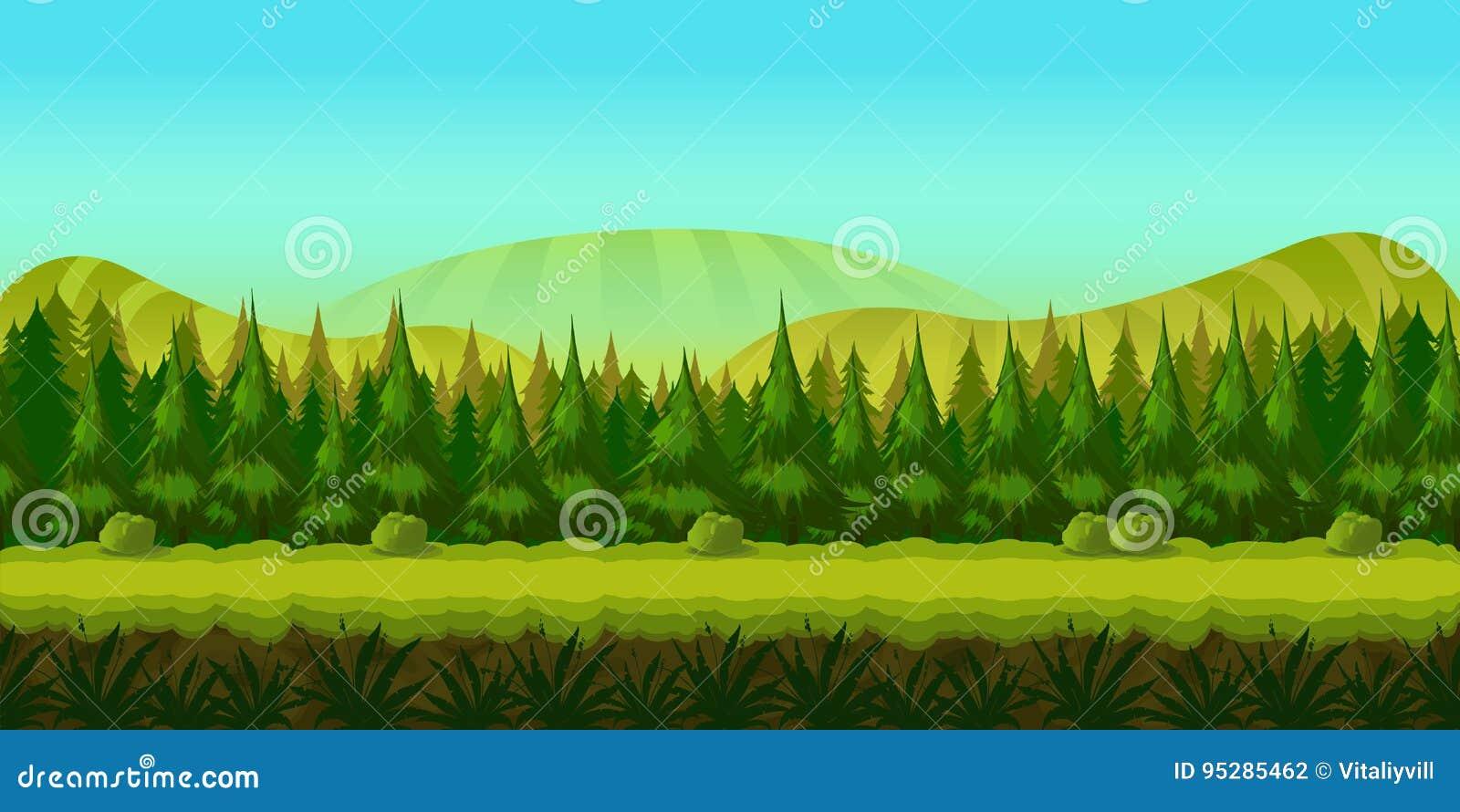 Fondo para usted juego con el bosque verde en primero plano y colinas y campos en fondo