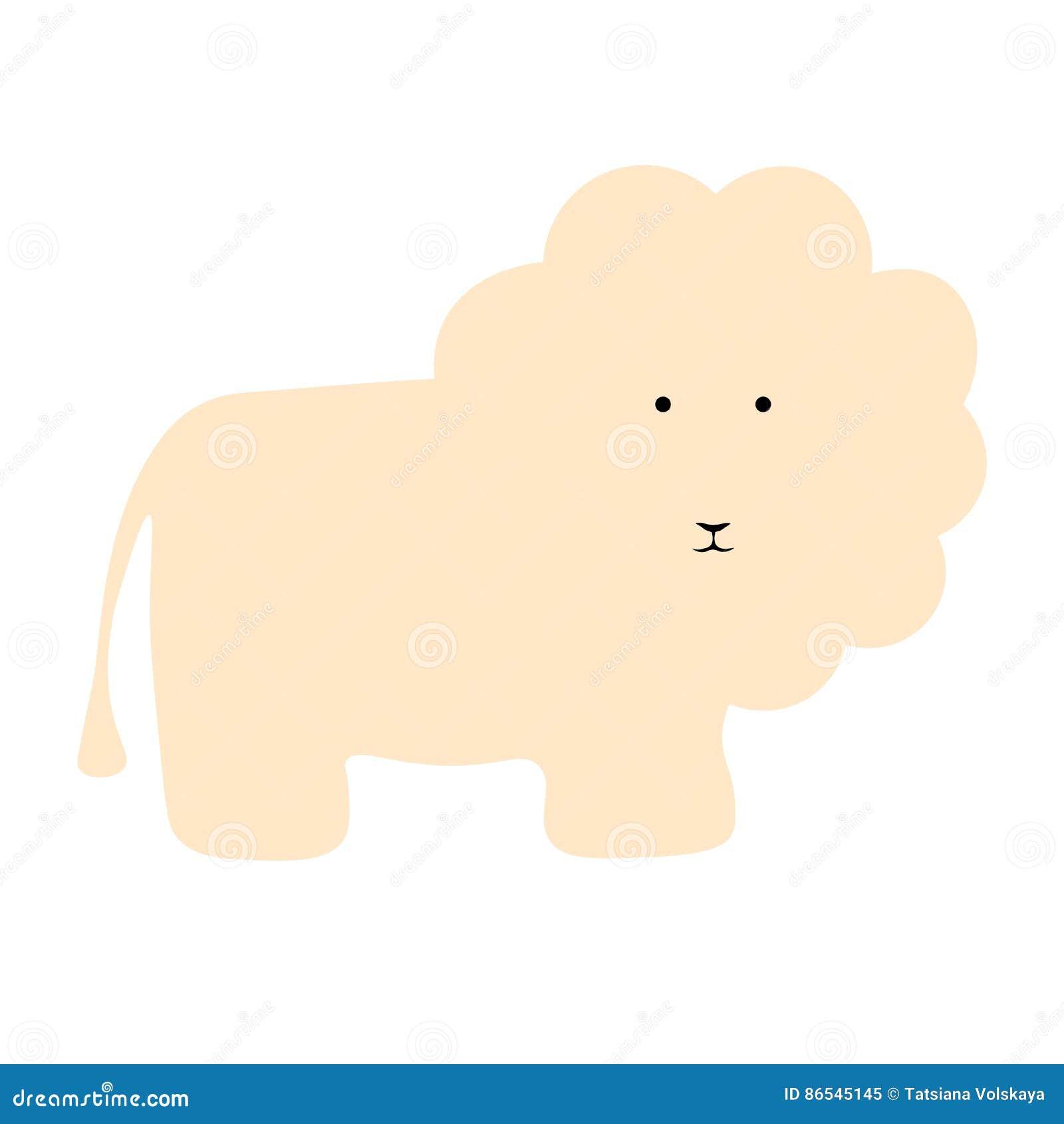 Fondo piano dell animale dell illustrazione del leone di vettore
