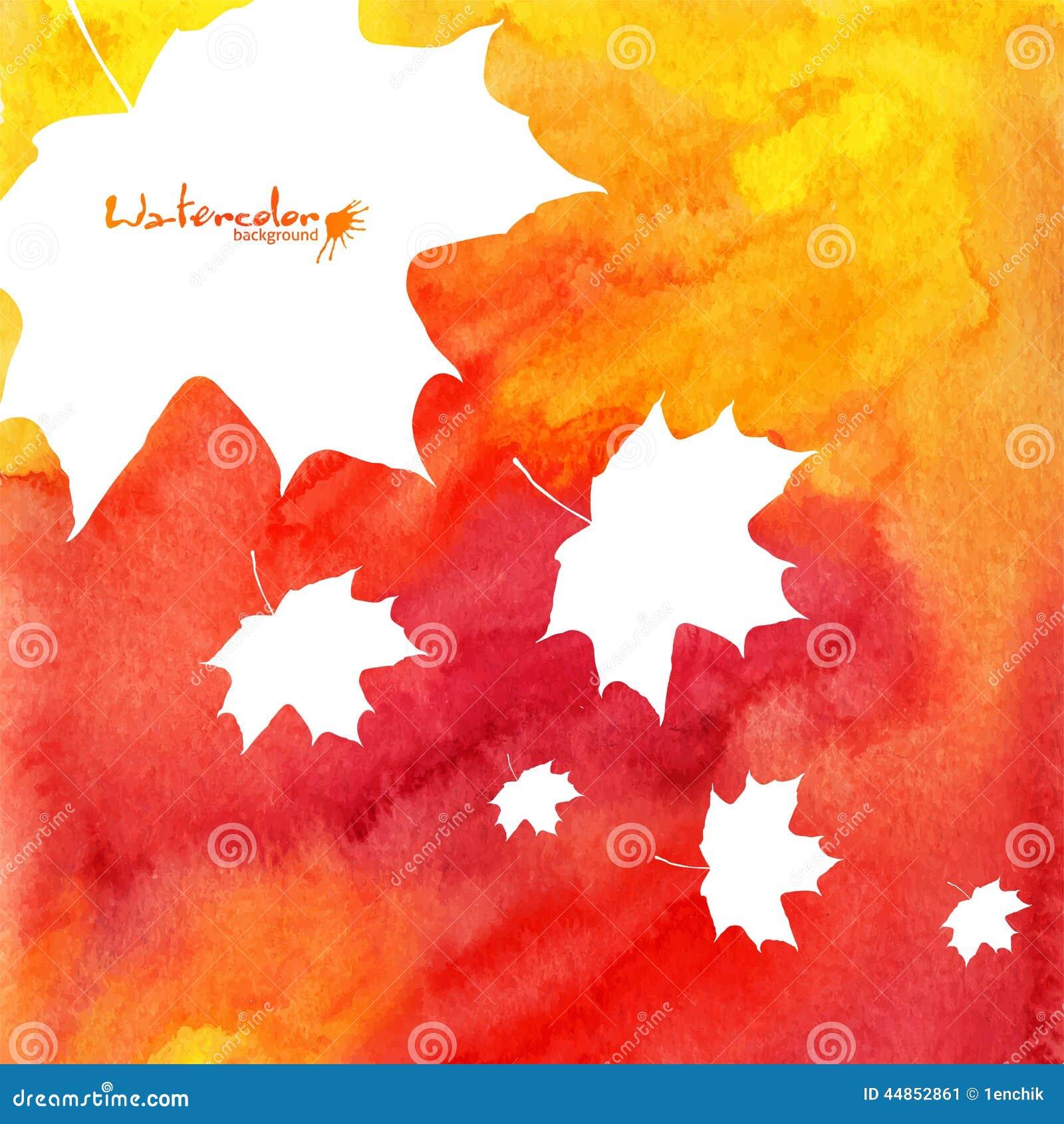 Fondo pintado acuarela del otoño de las hojas de arce
