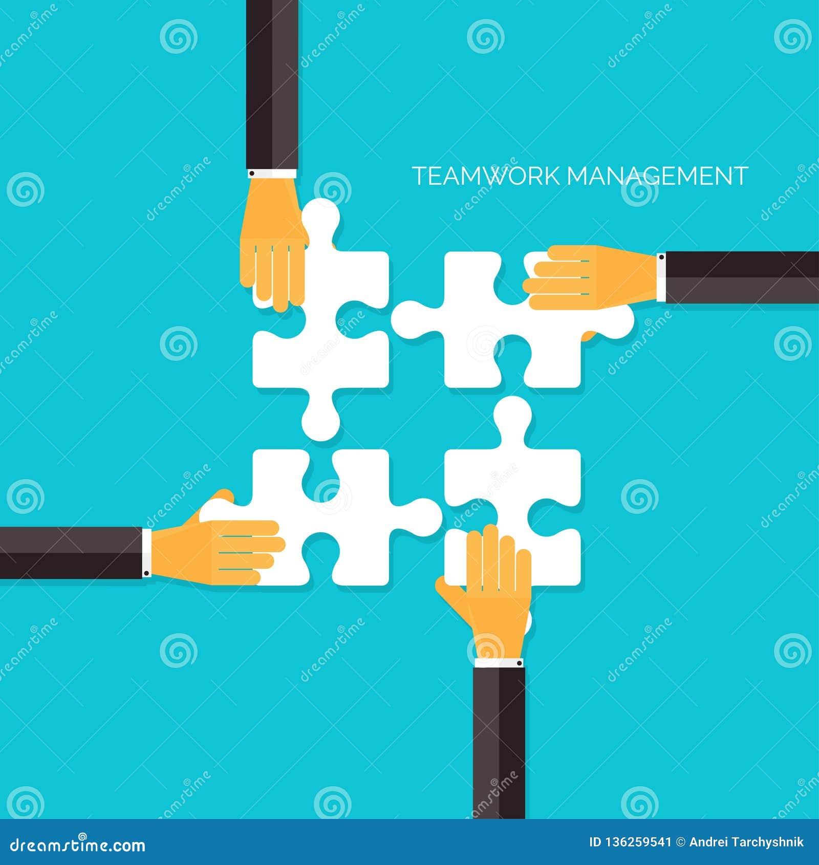 Fondo plano con las manos y los rompecabezas Concepto de la gestión del trabajo en equipo Negocio, analizando la organización