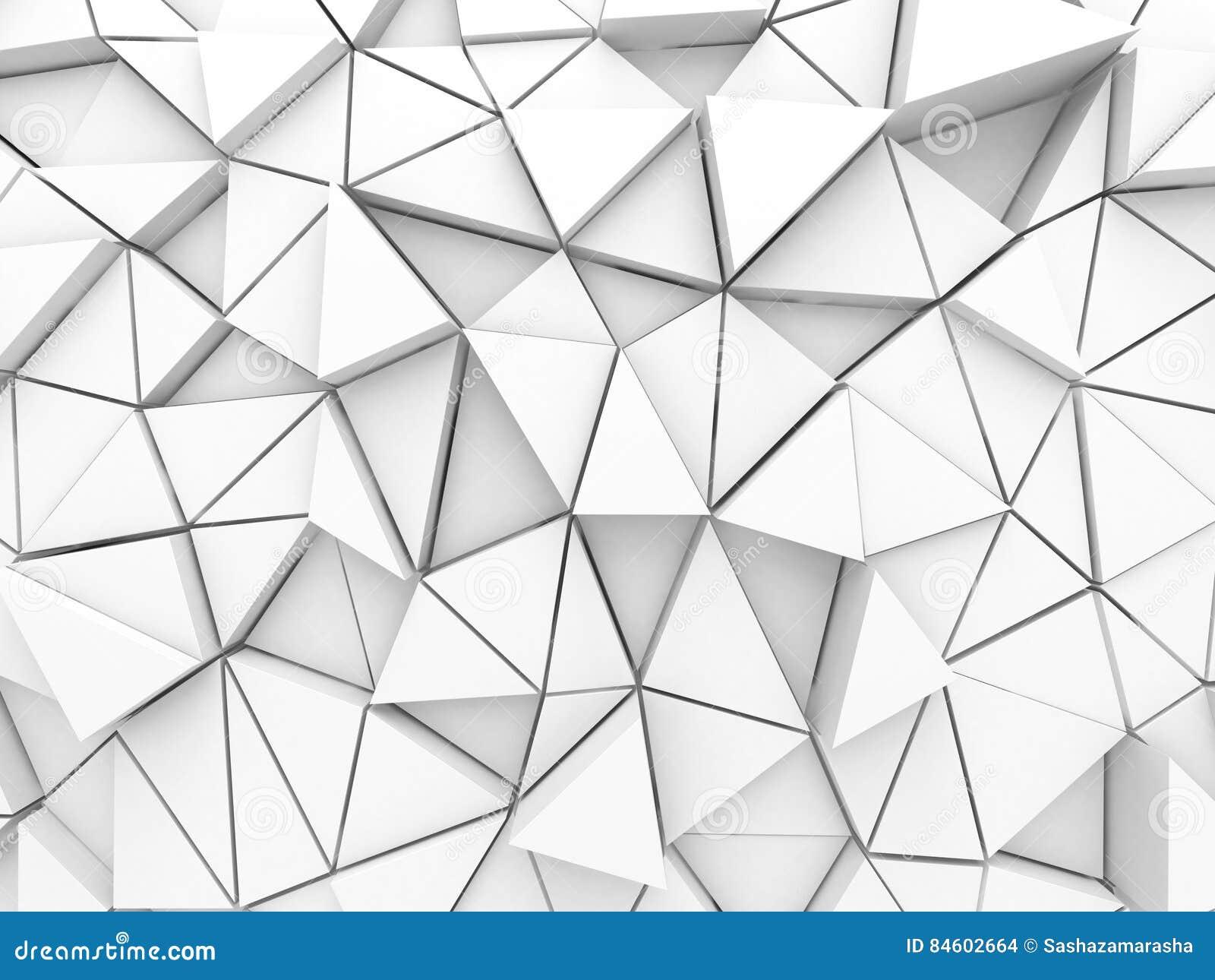 Fondo polivinílico bajo del triángulo blanco arquitectónico abstracto