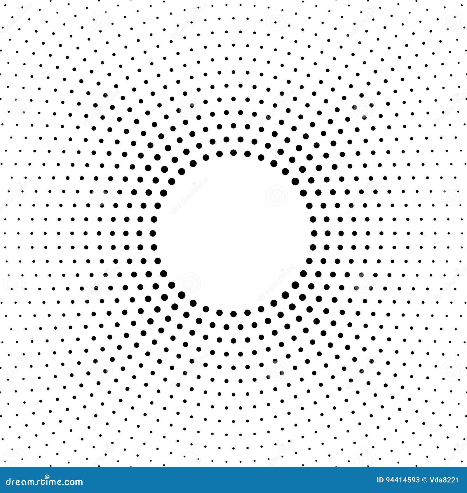Fondo punteado tono medio Modelo de semitono del vector del efecto Puntos del círculo aislados en el fondo blanco