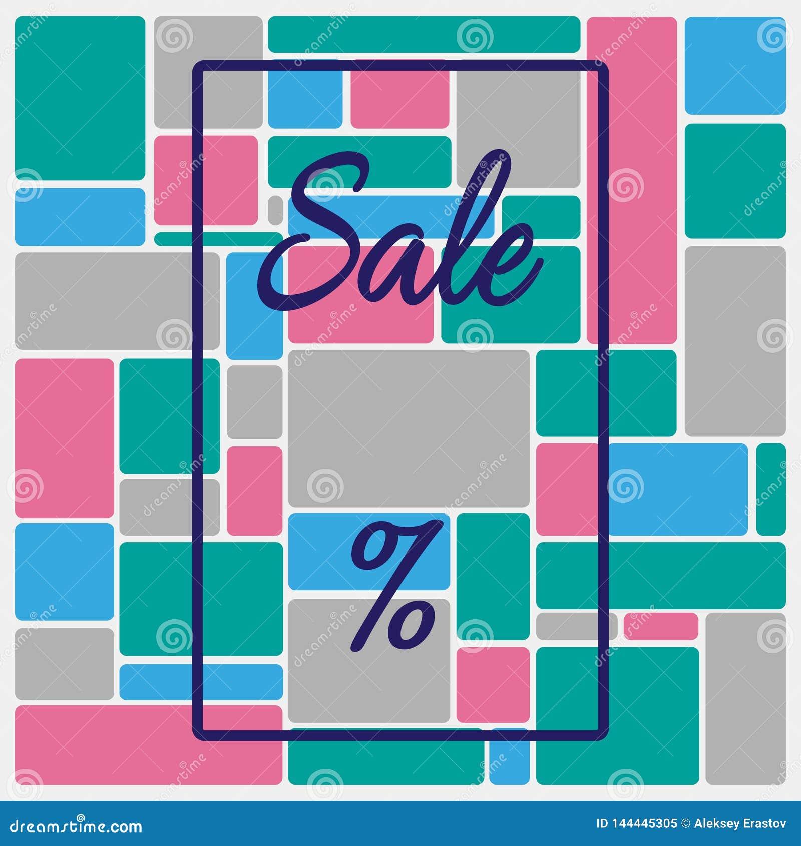 Fondo quadrato con la struttura, la vendita del testo ed il segno di percentuali Modello per annunciare Illustrazione di vettore