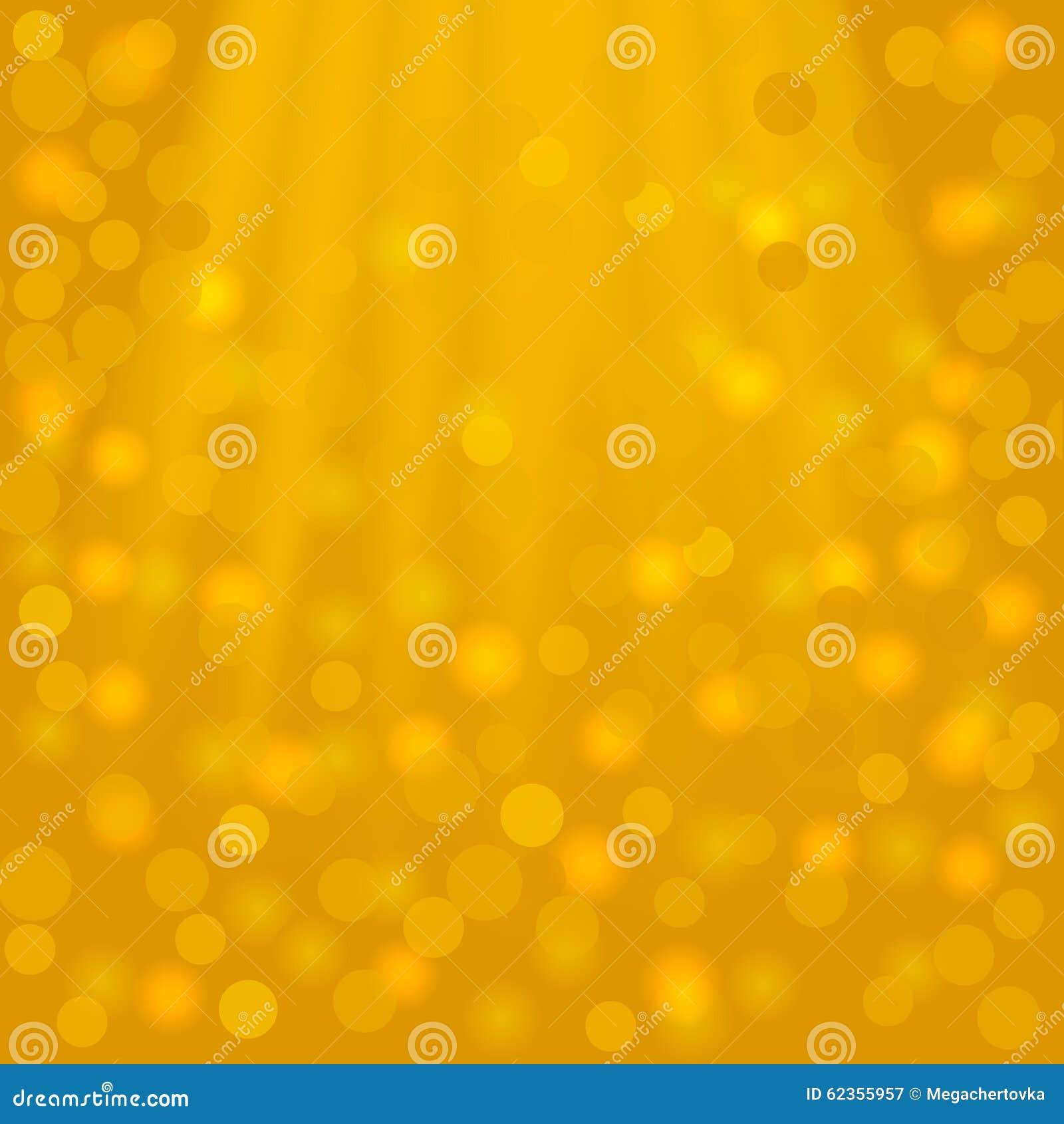 Fondo quadrato dorato festivo con i fasci e il bokeh