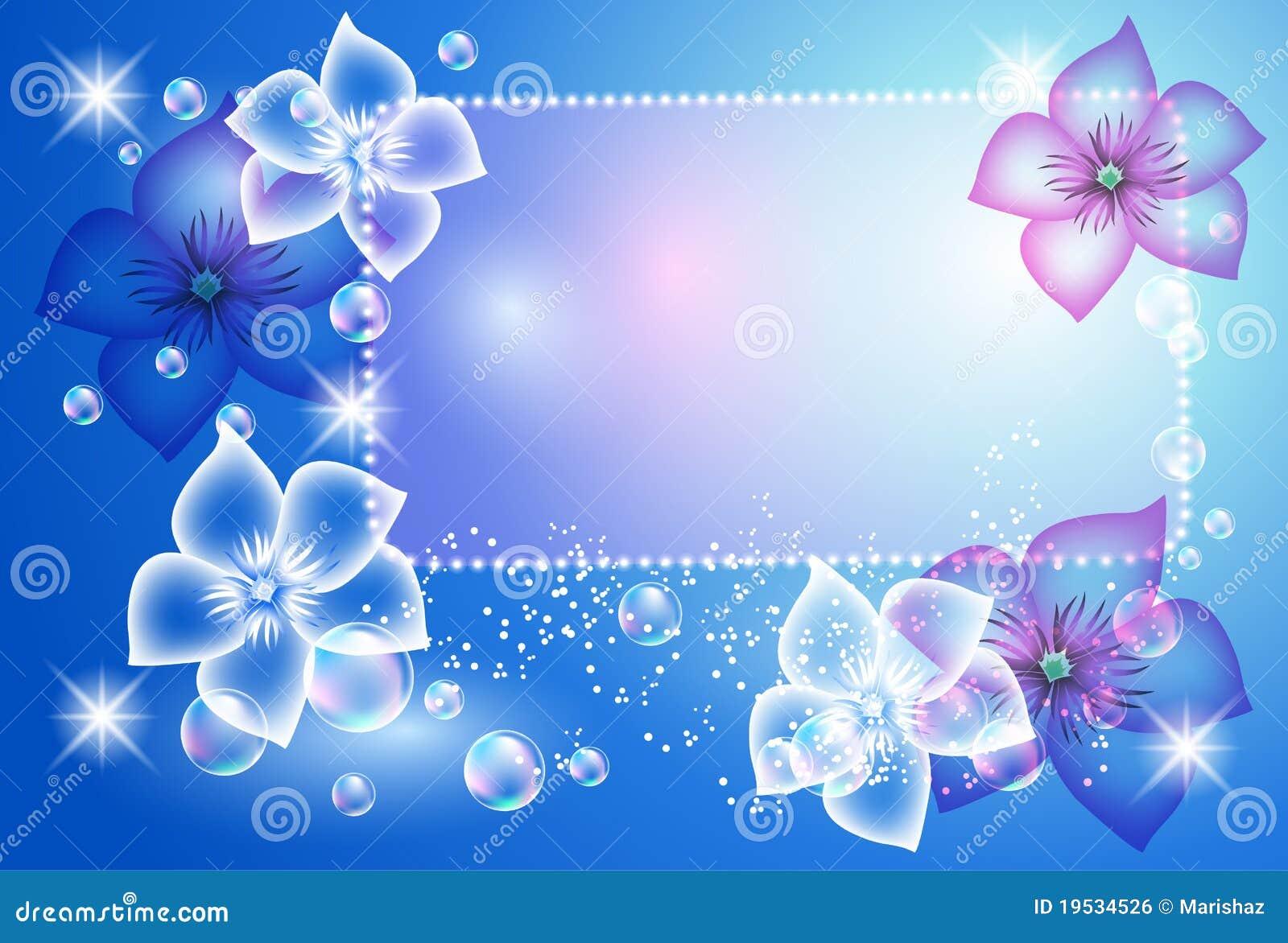 Fondo que brilla intensamente con las flores transparentes - Marcos transparentes ...