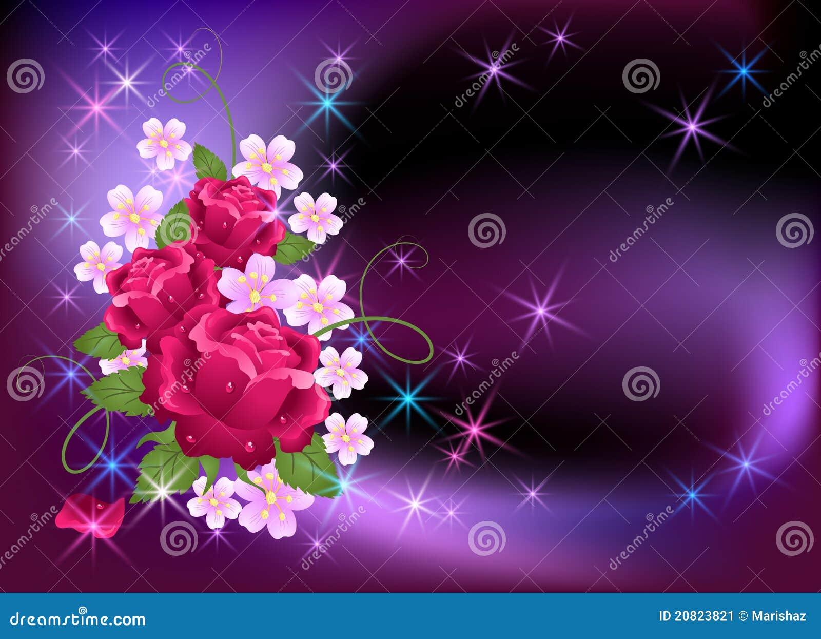 Fondo que brilla intensamente con las rosas Imagen de archivo