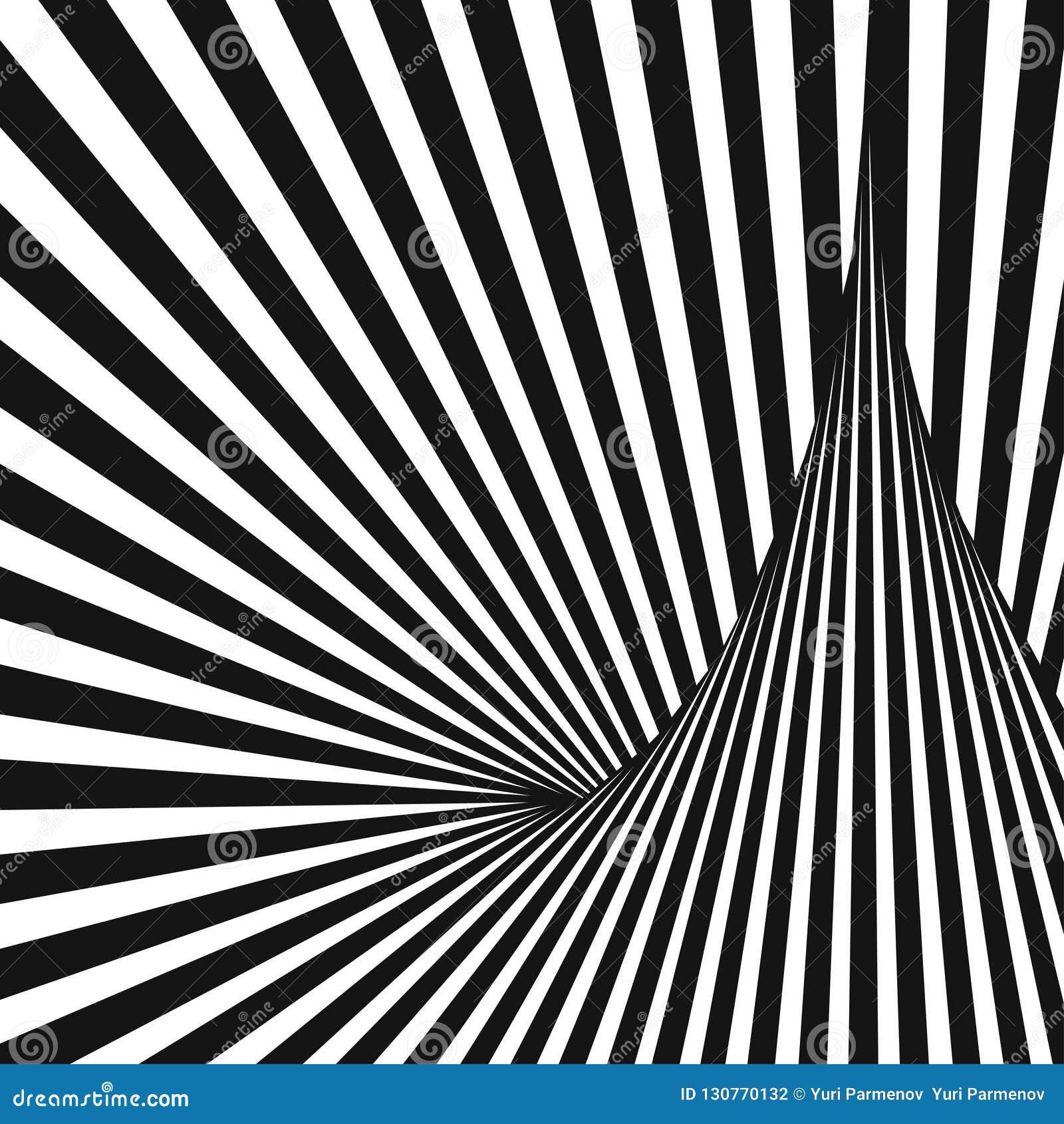 4eb98125f4 Fondo rayado abstracto blanco y negro Arte óptico ilustración del vector 3d