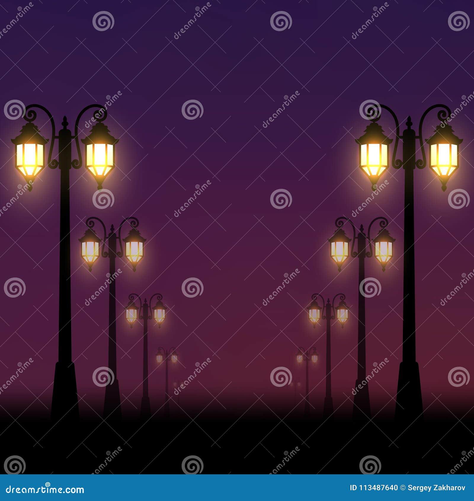 Fondo realista La calle de la tarde se encendió por las linternas a lo largo del callejón