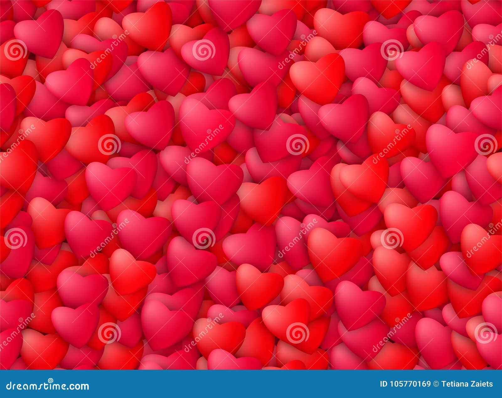 Fondo realistico senza cuciture dei cuori Amore, passione e concetto di giorno di S