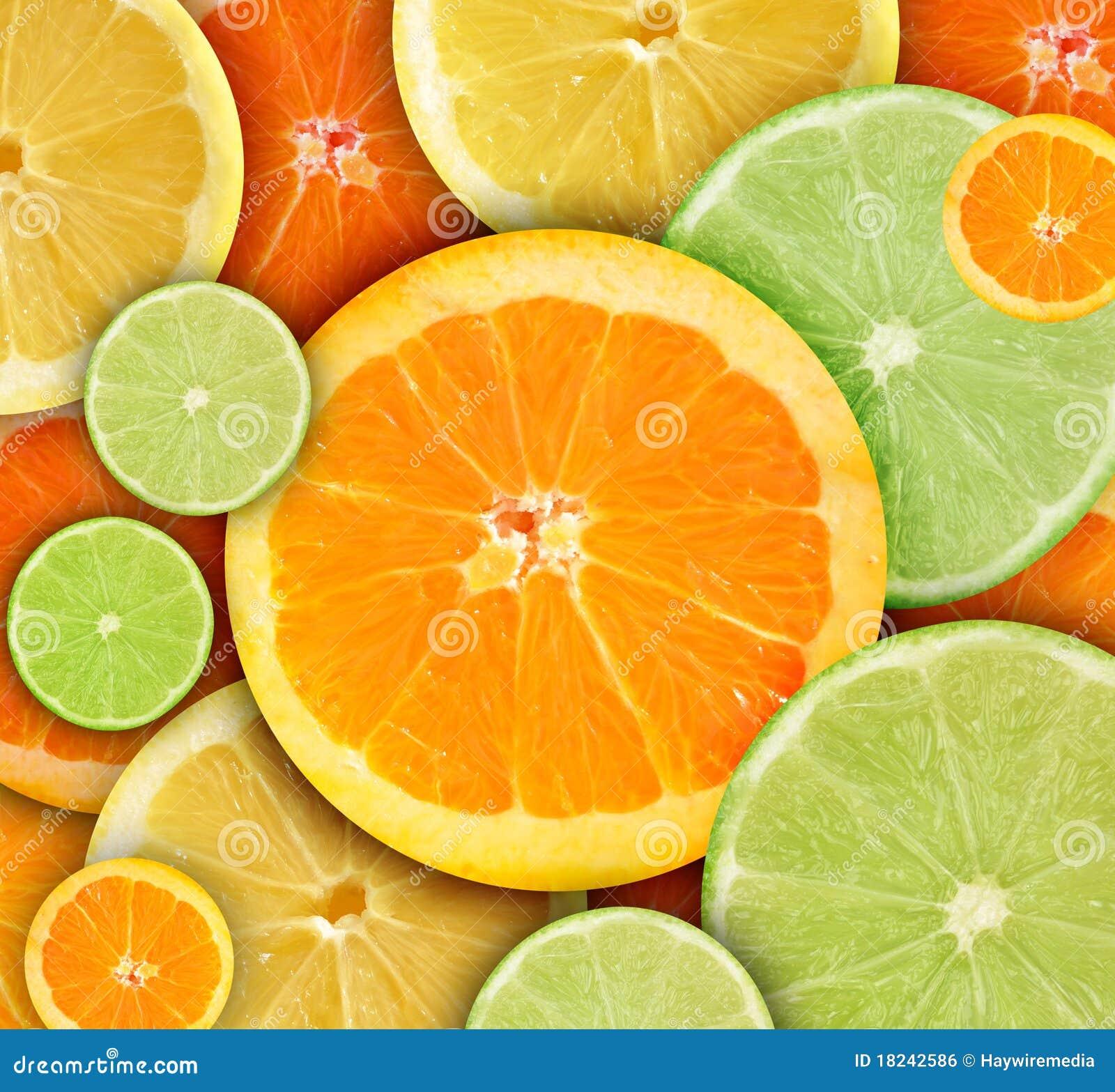 Fondo redondo colorido de la fruta de Citrius
