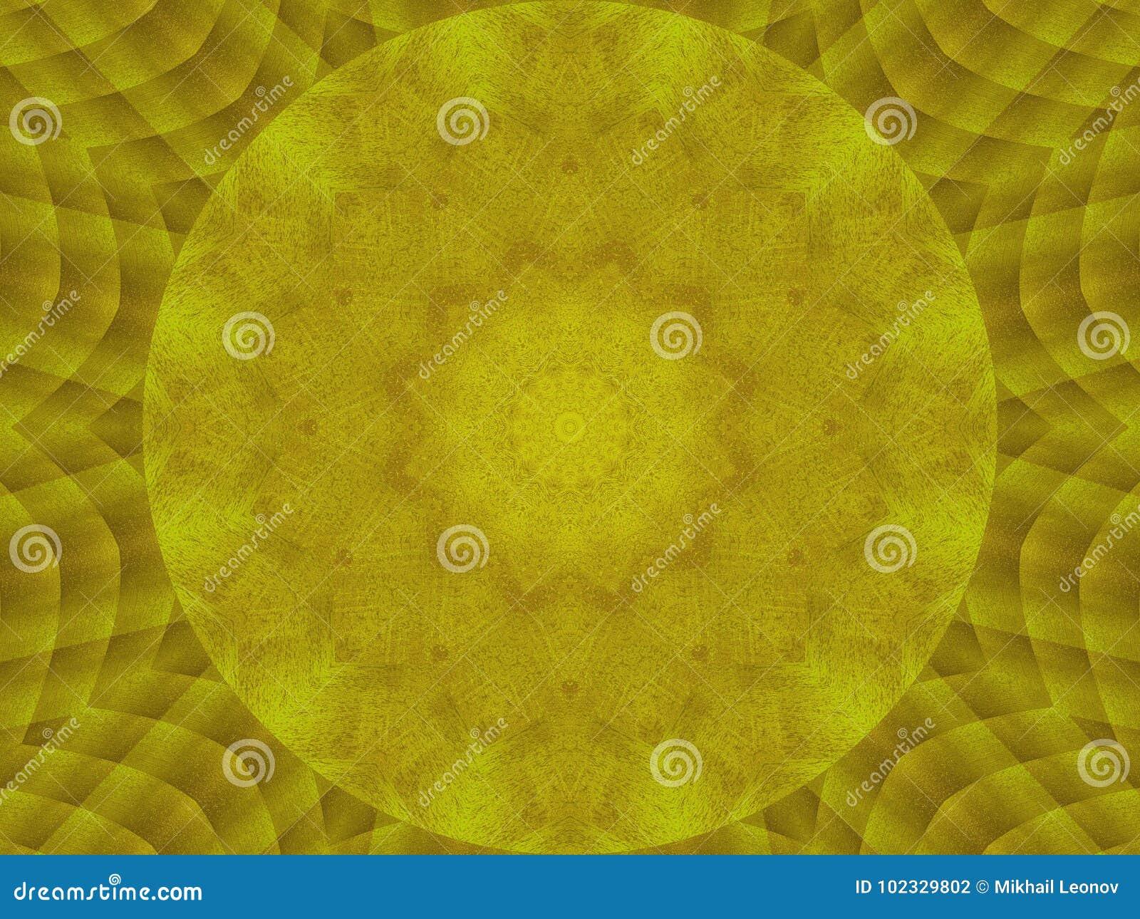 Fondo redondo del metal de la textura del caleidoscopio del extracto de oro del modelo Fondo abstracto de la textura del caleidos