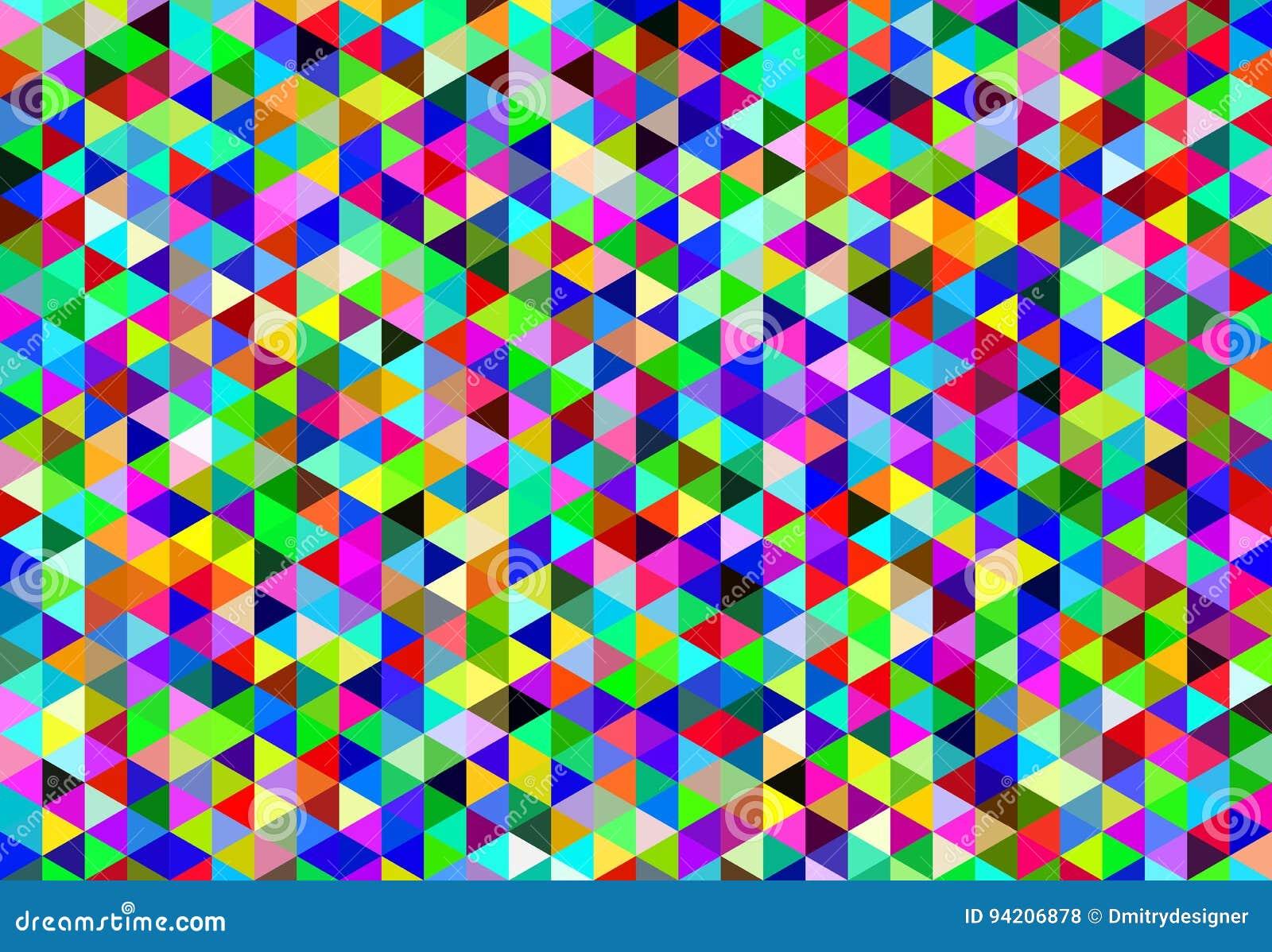 Fondo Retro Abstracto - Triángulo Coloreado Isométrico En Vector ...
