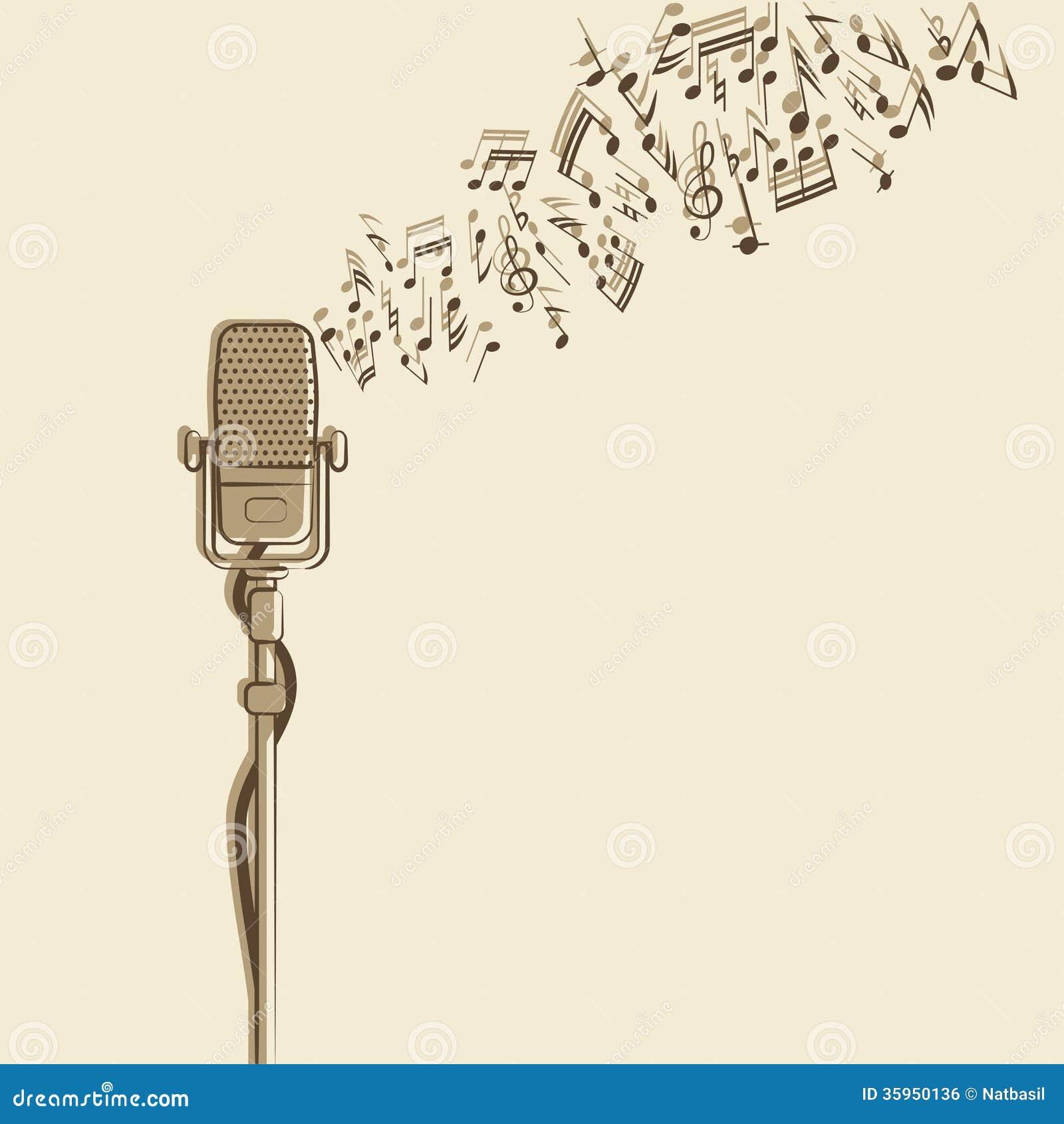 Fondo retro con el micrófono