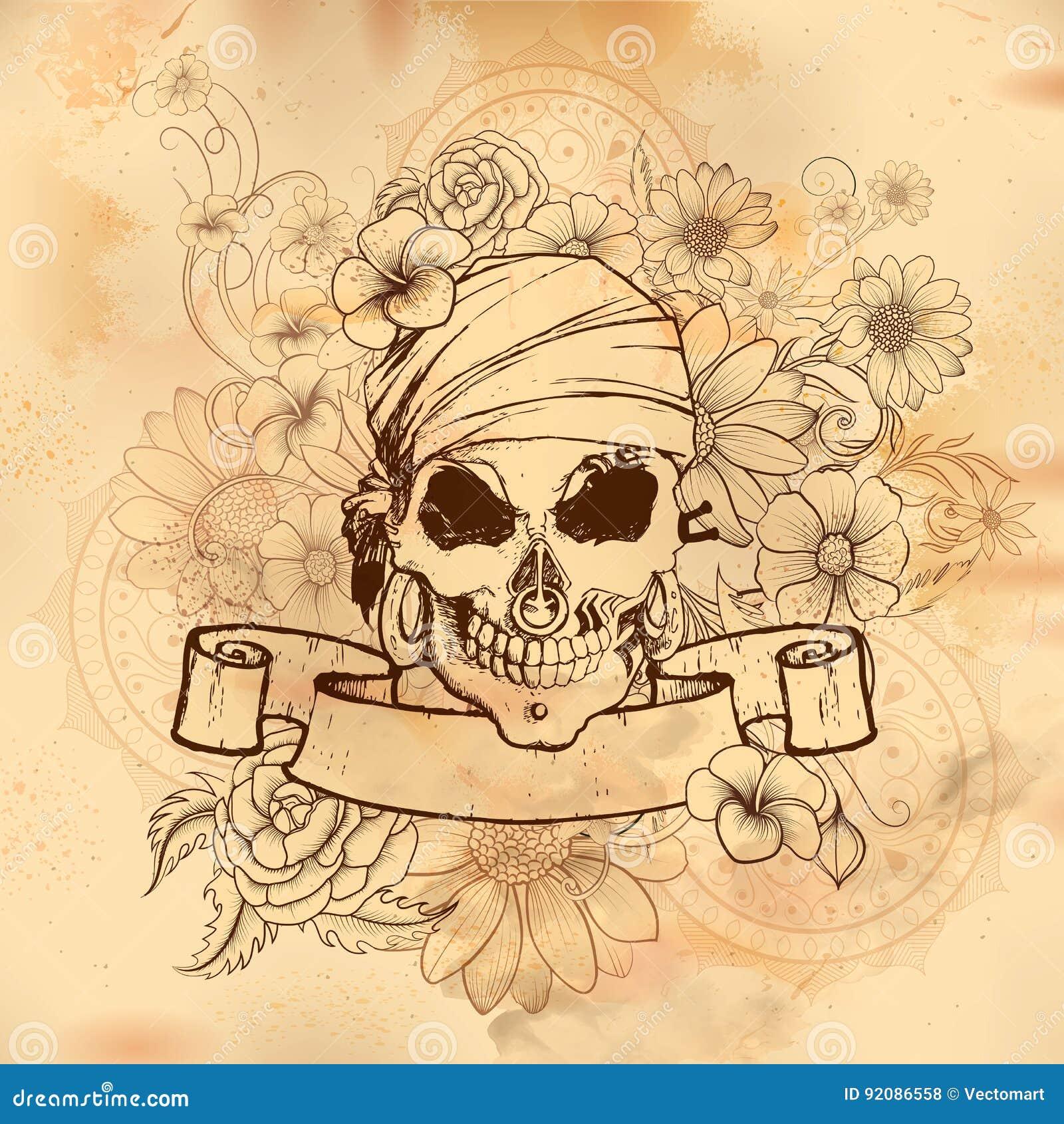 Fondo retro de la impresión sucia del cráneo del estilo del vintage