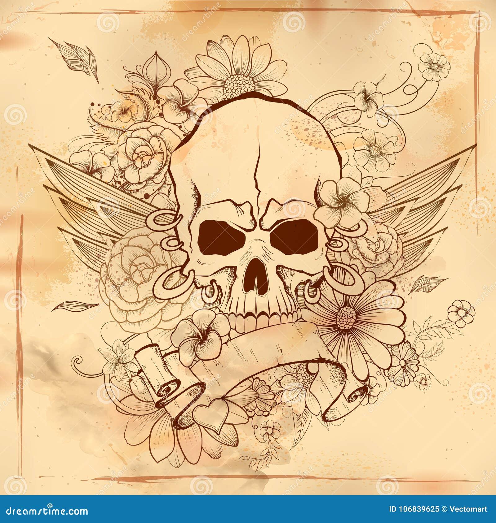 Fondo retro de la impresión sucia del cráneo del estilo de Vintge