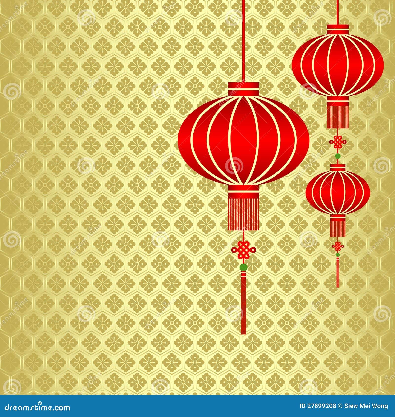 Fondo rojo chino de la linterna del Año Nuevo