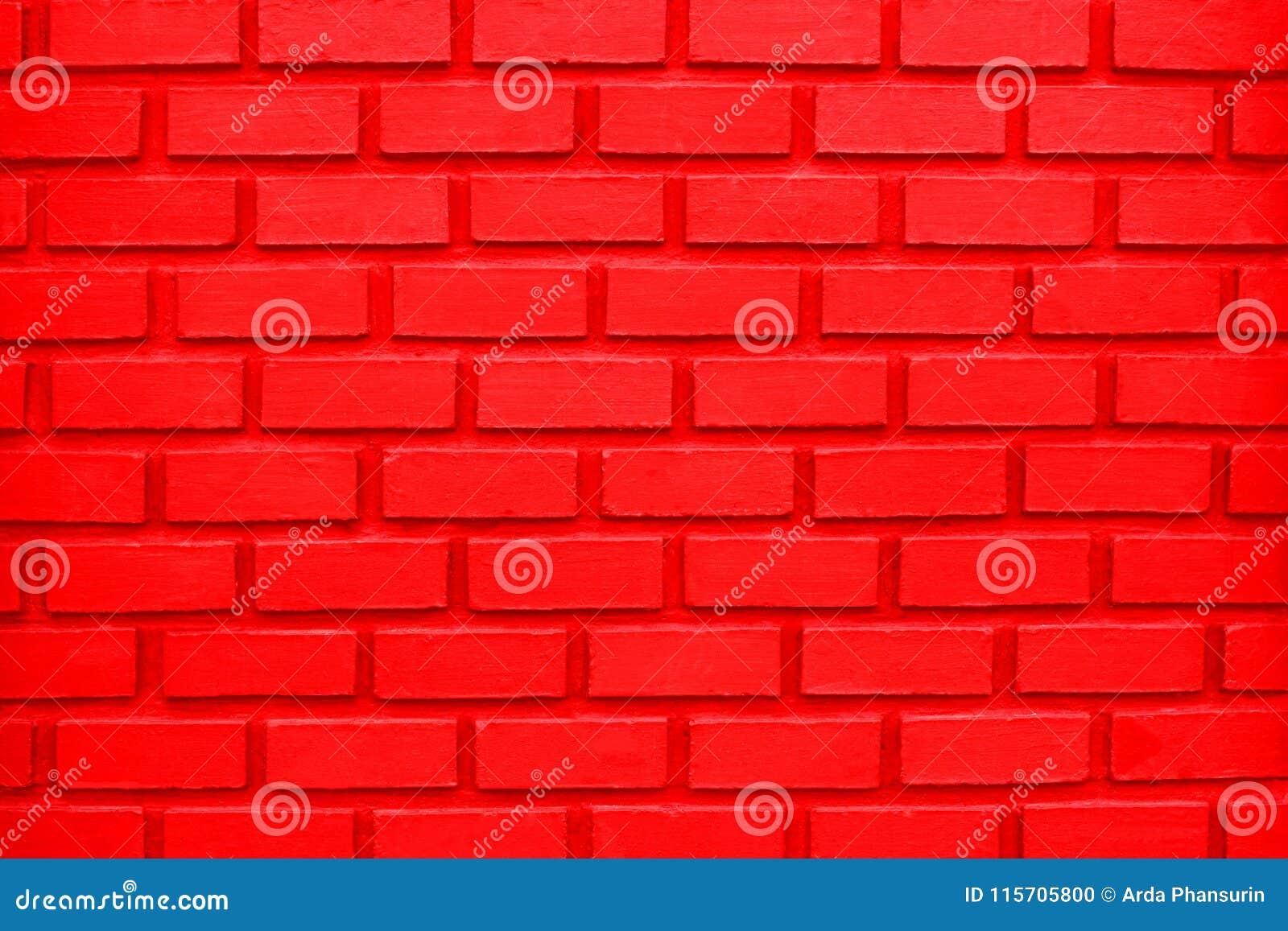 Fondo rojo colorido de la pared de ladrillo O fondo rojo colorido de la pared de ladrillo