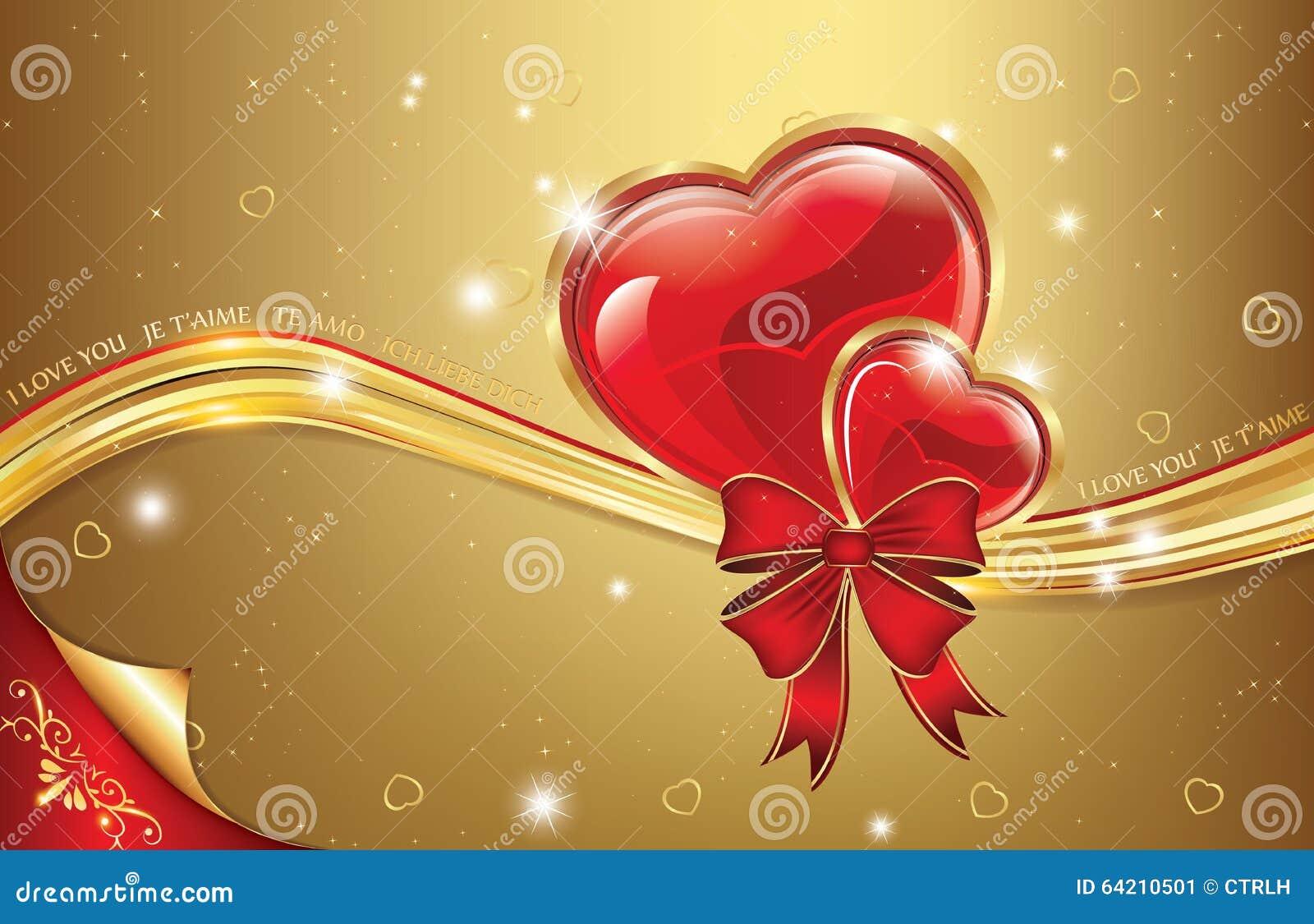 Fondo rojo de oro del amor con los corazones
