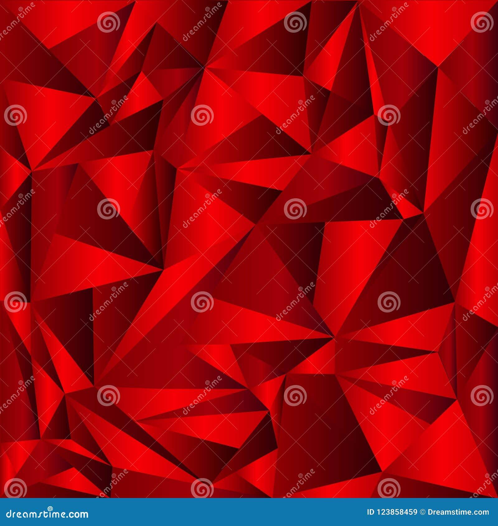 Fondo rojo del mosaico del extracto del vector Ejemplo geométrico creativo en estilo de la papiroflexia con pendiente