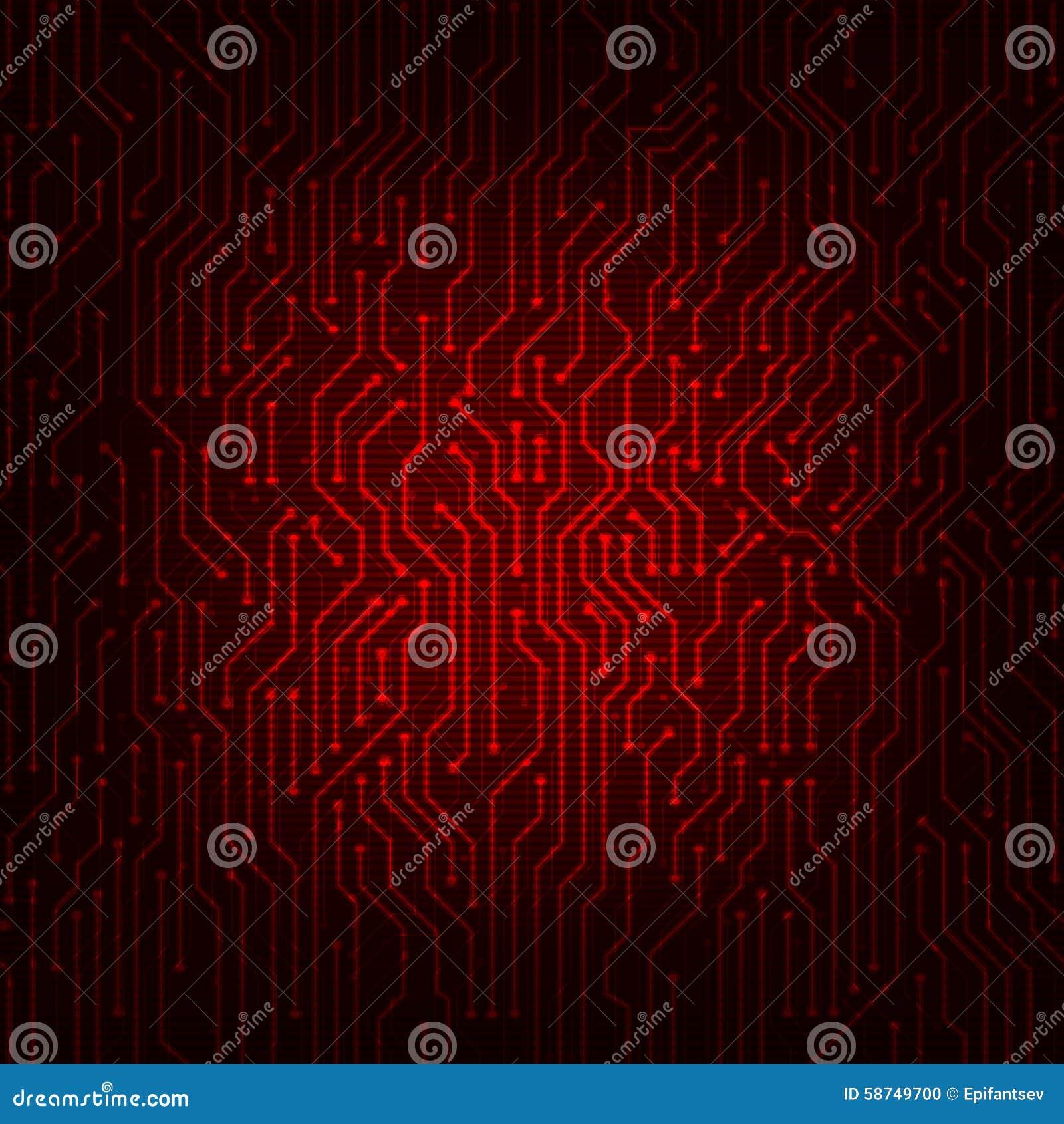 Fondo rojo del vector del extracto de la placa de circuito