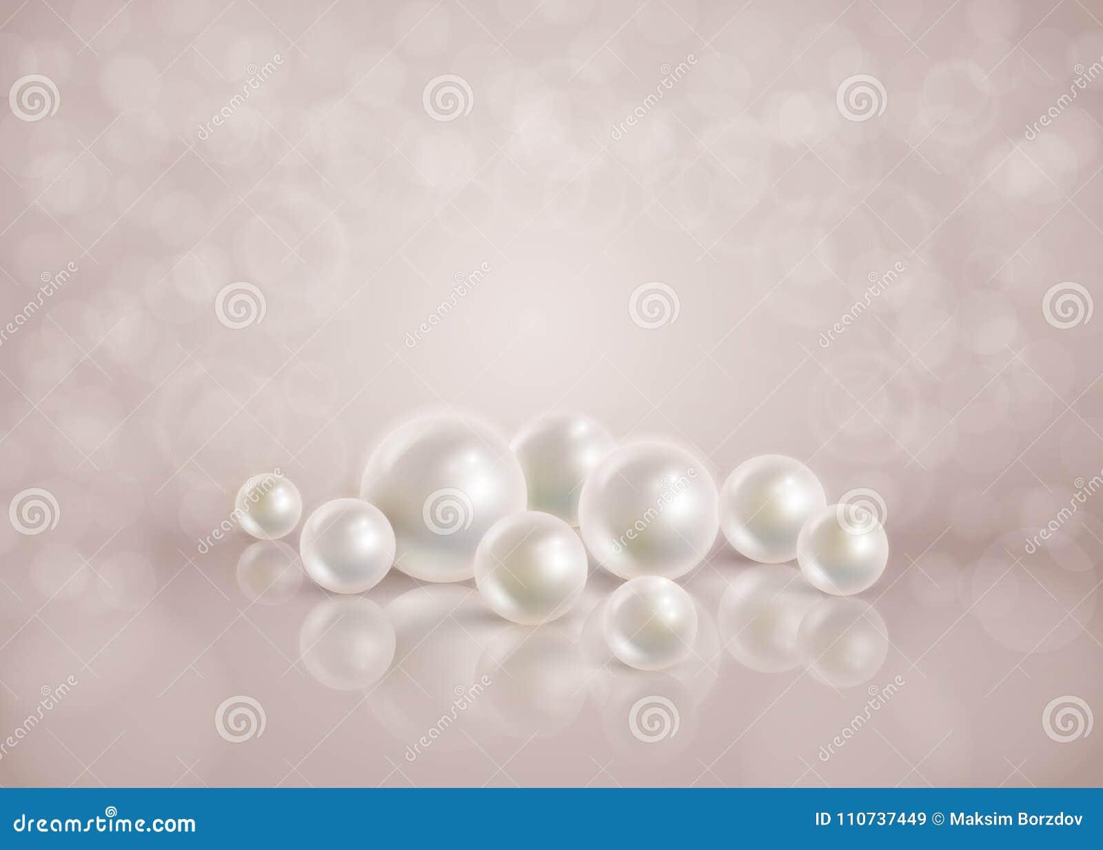 Fondo romántico abstracto del bokeh con las perlas dispersadas
