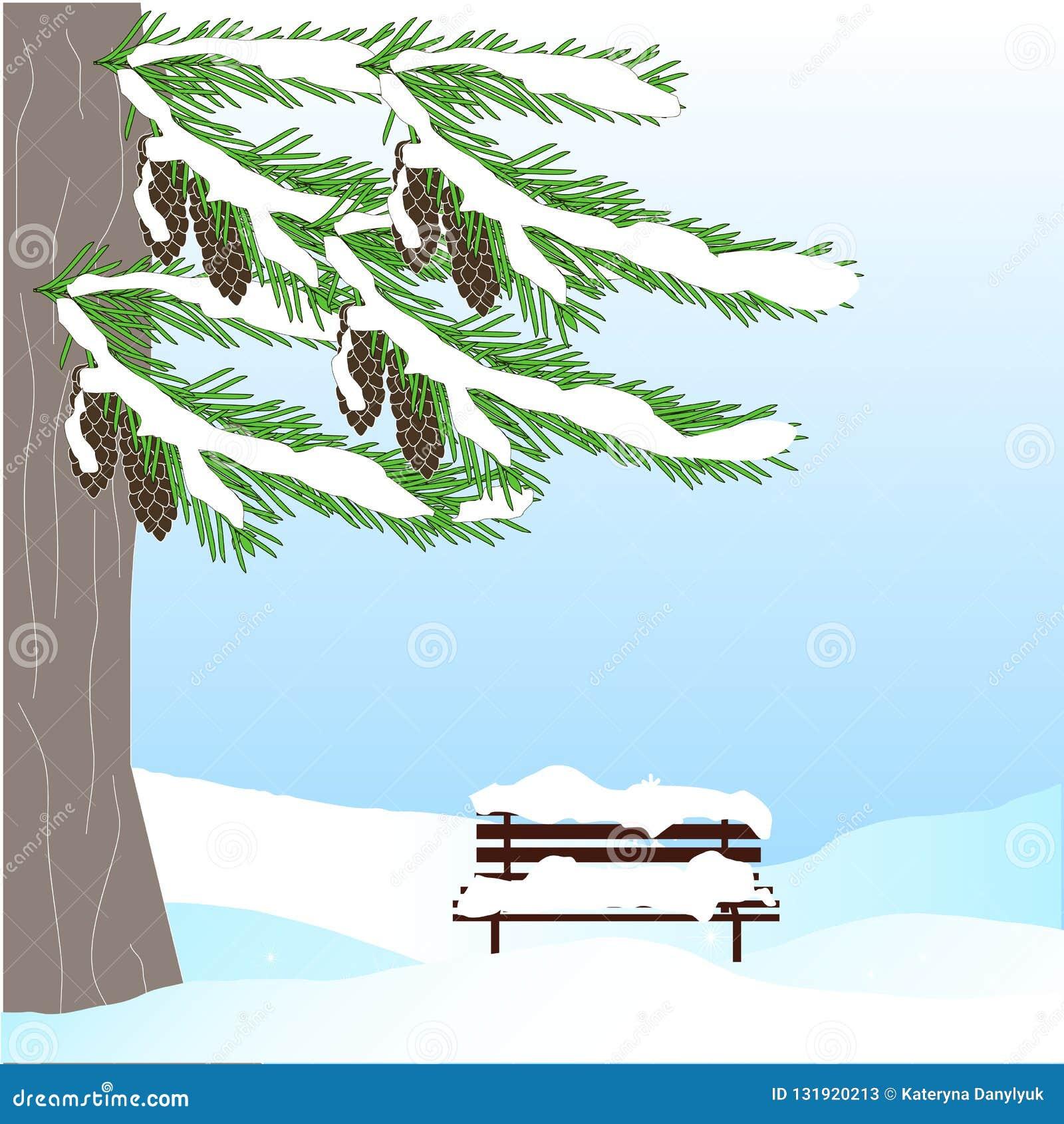 Fondo romántico del invierno con el árbol de abeto verde, cono marrón, banco, en la nieve blanca en el cielo azul