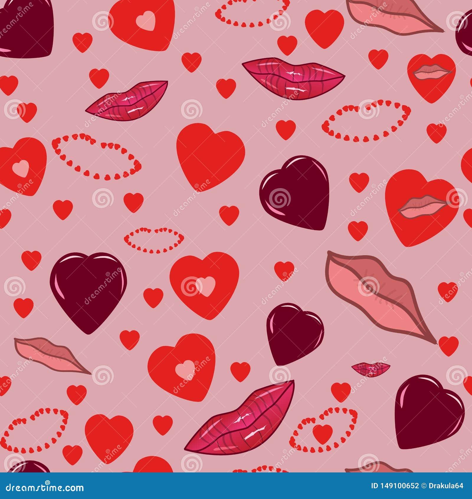 Fondo romantico rosa senza cuciture con i cuori e le labbra