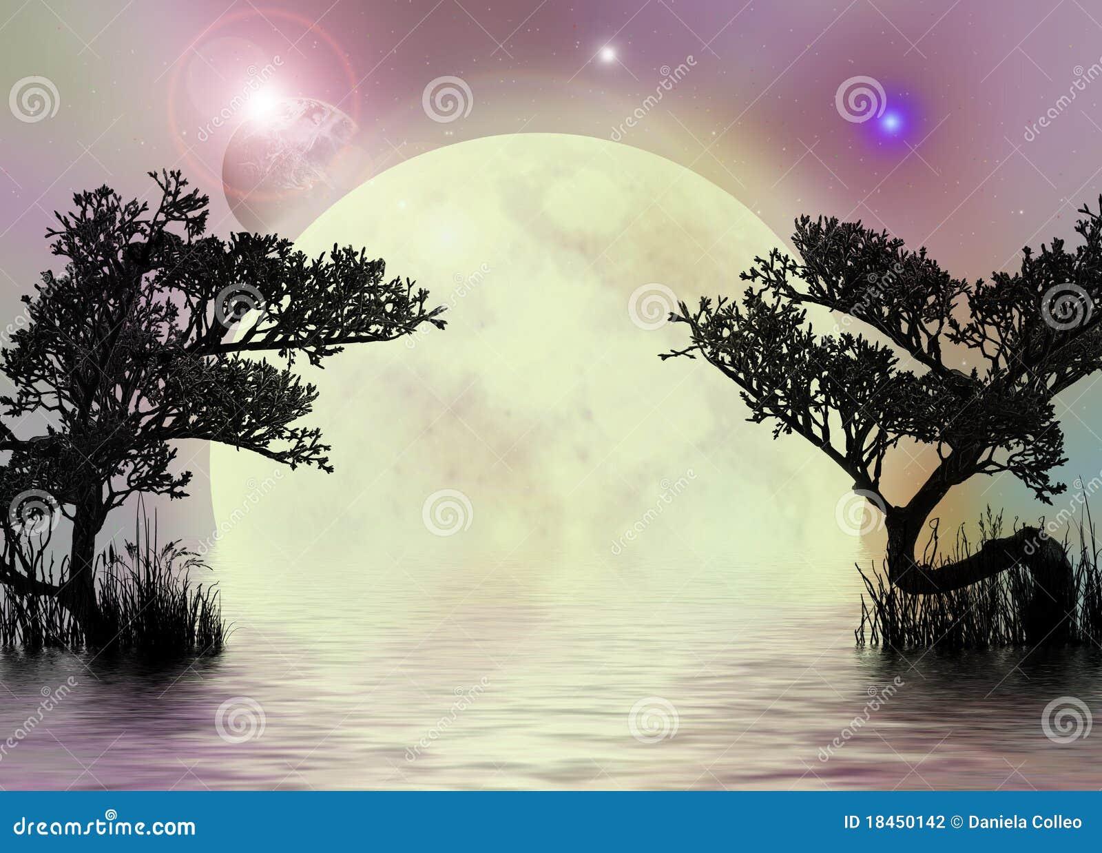 Fondo rosáceo de hadas de la luna