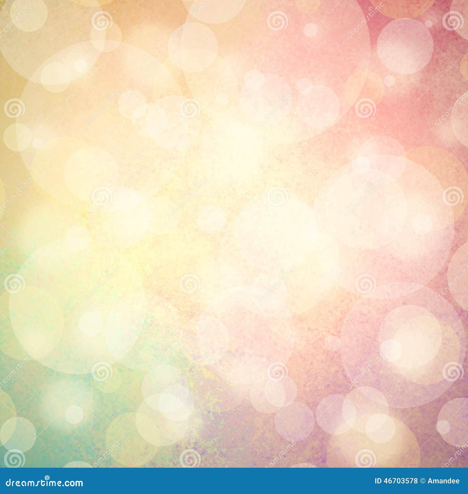 Fondo rosa di verde giallo e blu con le bolle o le luci bianche del bokeh