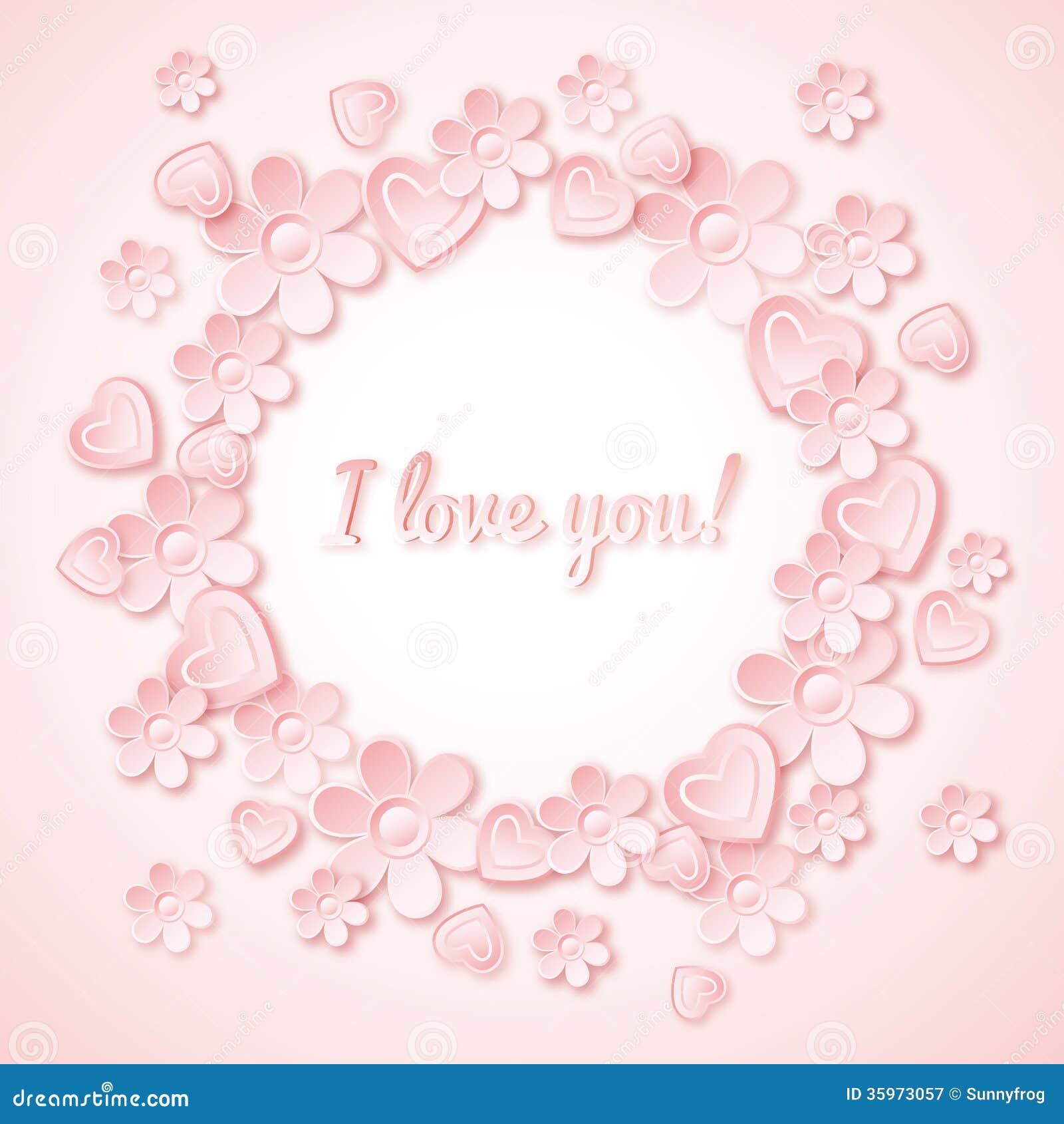 Fondo rosado con el corazón de la tarjeta del día de San Valentín, flores y