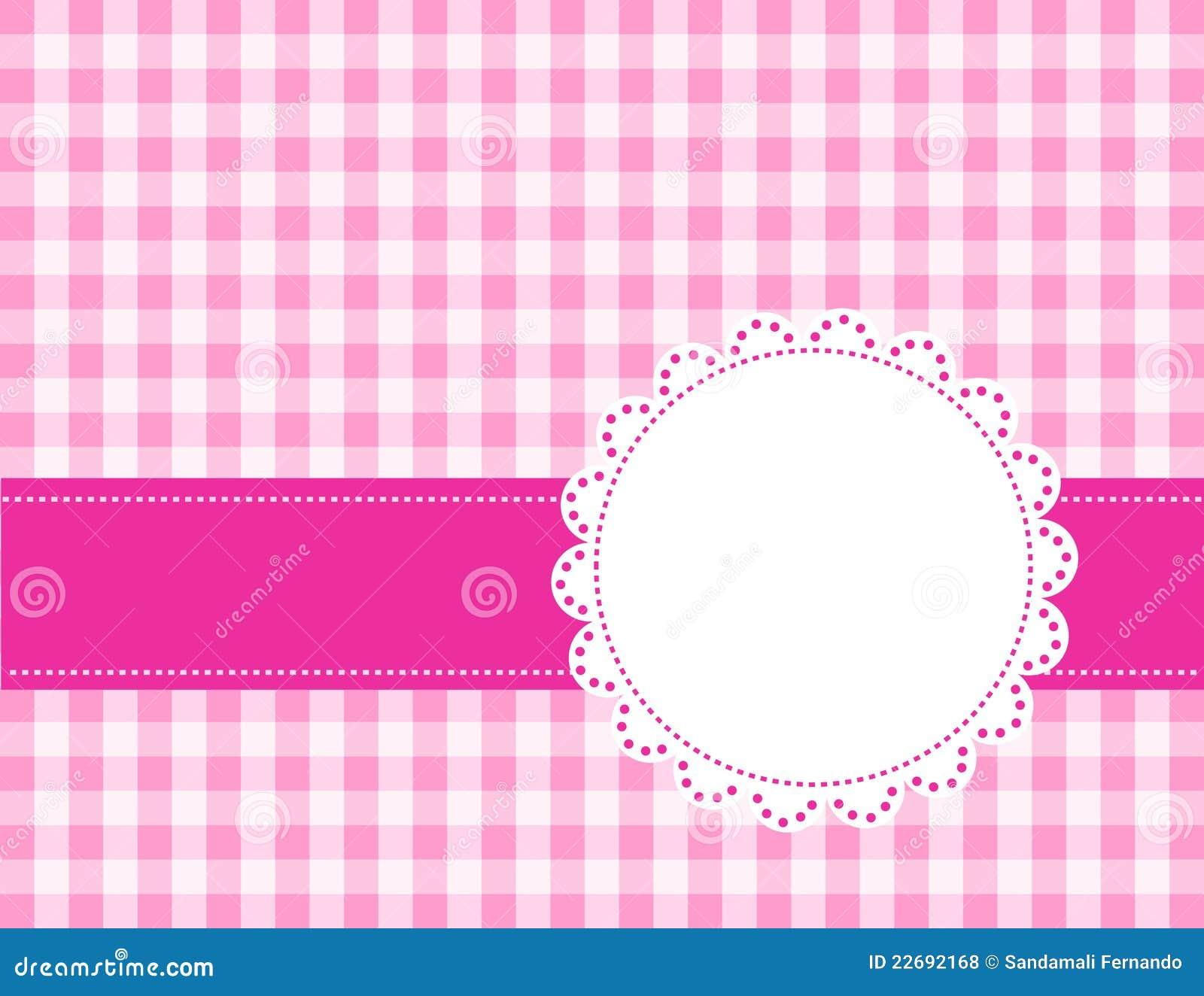 Fondo rosado de la guinga/de los cuadrados con el marco. especialmente ...