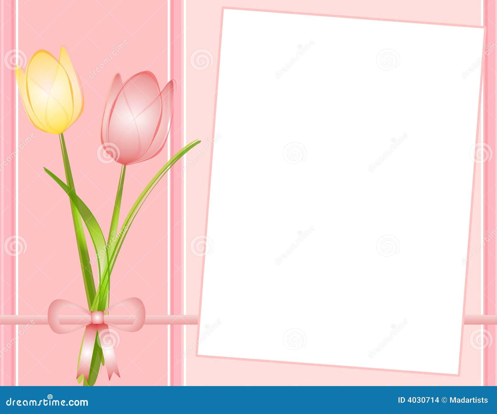 fondo rosado del papel de nota de los tulipanes del resorte stock de