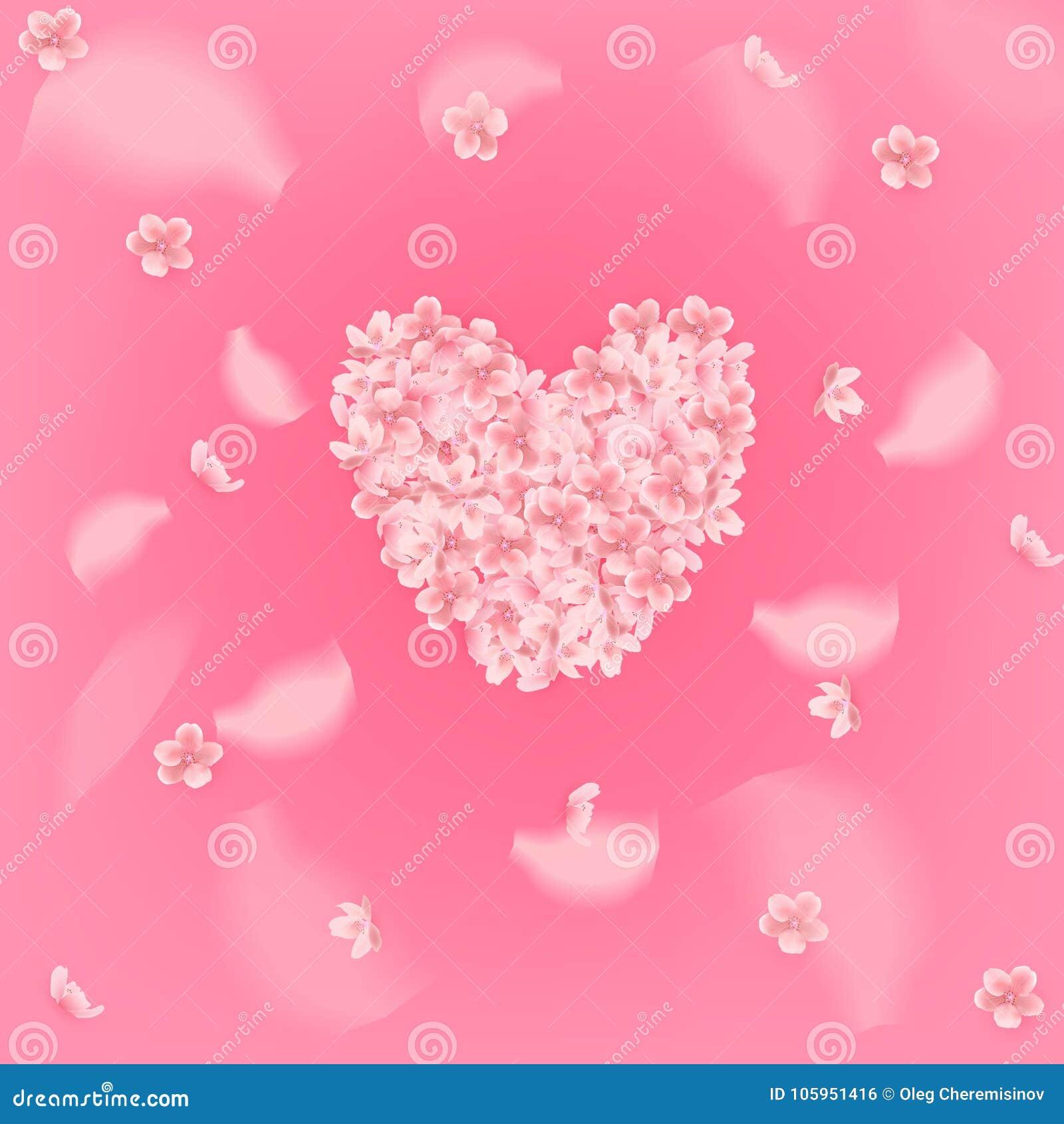 Fondo rosado hermoso con los pétalos rosados florecientes de Sakura en forma del corazón Ilustración del vector