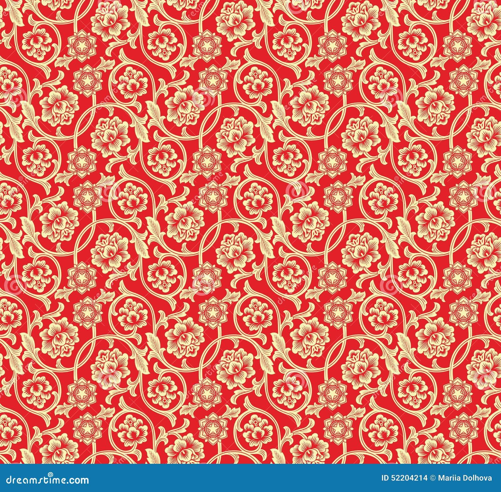 Fondo rosso cinese con i fiori