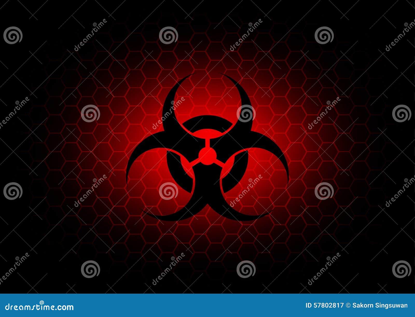 Fondo rosso scuro di simbolo astratto di rischio biologico